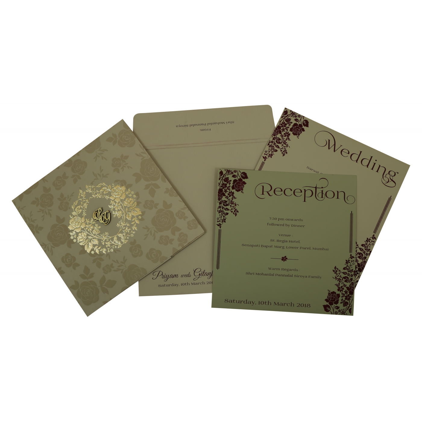 KHAKI MATTE FLORAL THEMED - FOIL STAMPED WEDDING INVITATION : C-1805 - 123WeddingCards