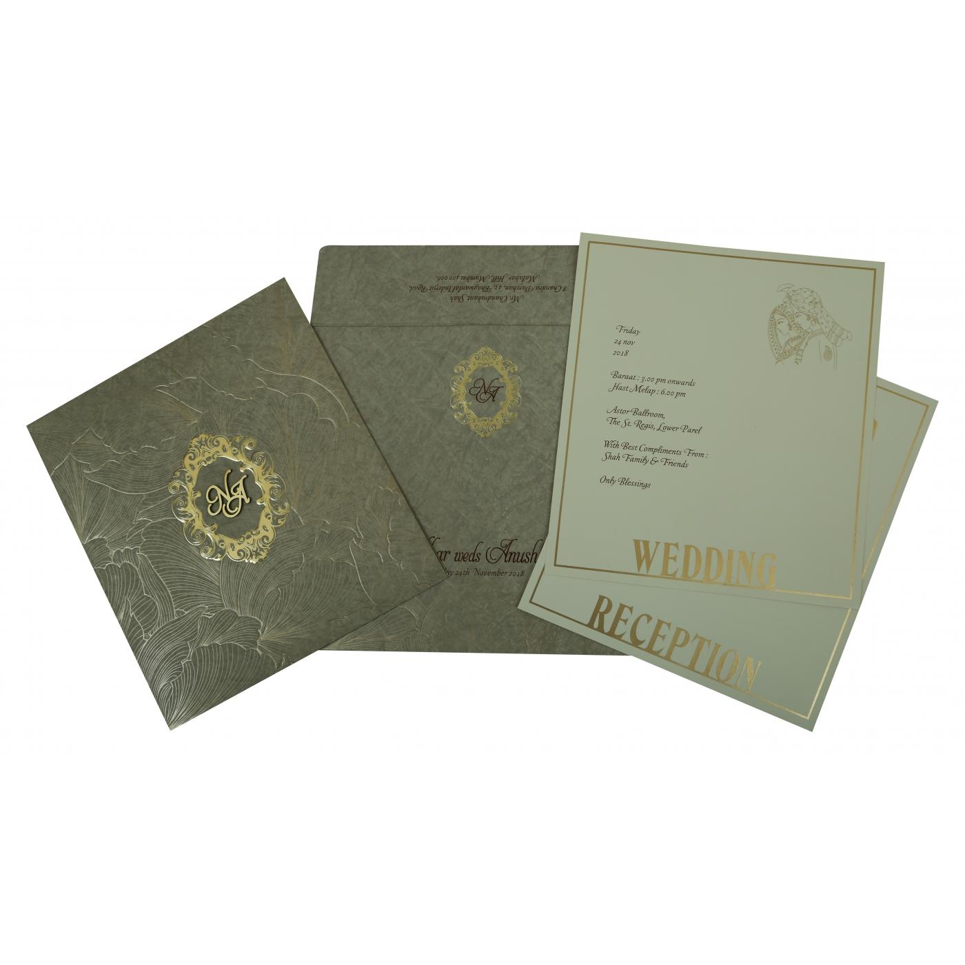 OLIVE GREEN MATTE FOIL STAMPED WEDDING INVITATION : C-1804 - 123WeddingCards