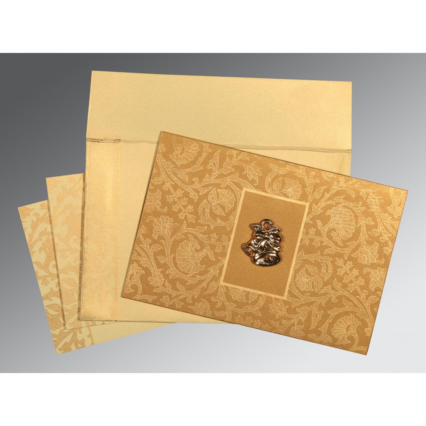 YELLOW GOLD SHIMMERY POCKET THEMED - EMBOSSED WEDDING INVITATION : C-1434 - 123WeddingCards