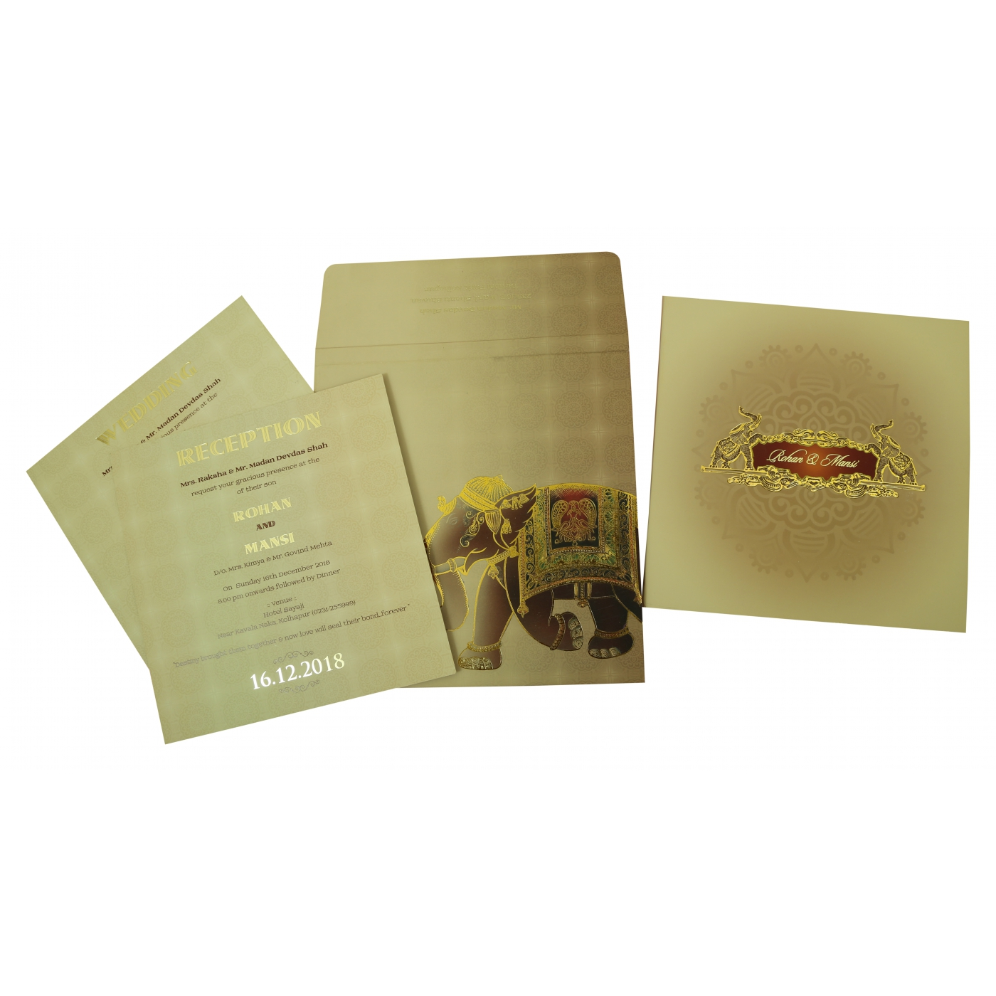 PERSIAN RED MATTE BOX THEMED - FOIL STAMPED WEDDING INVITATION : C-1823 - 123WeddingCards