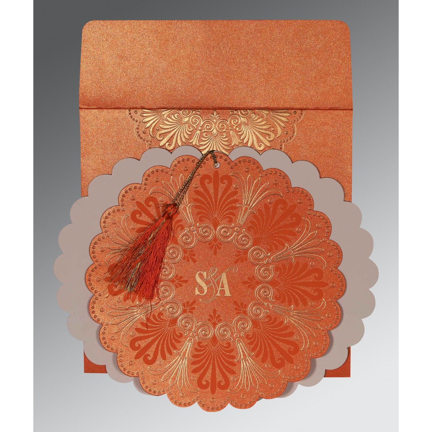 COPPER SHIMMERY FLORAL THEMED - EMBOSSED WEDDING CARD : C-8238F - 123WeddingCards