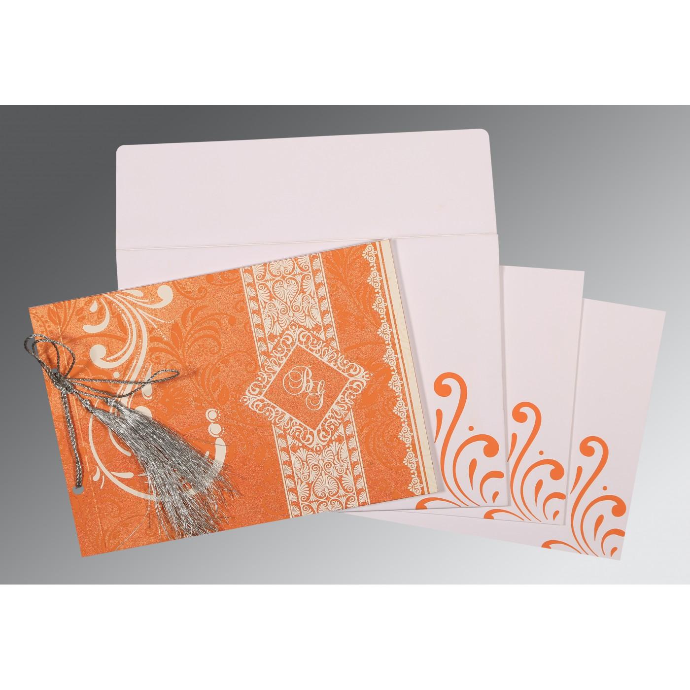SALMON SHIMMERY SCREEN PRINTED WEDDING CARD : C-8223K - 123WeddingCards