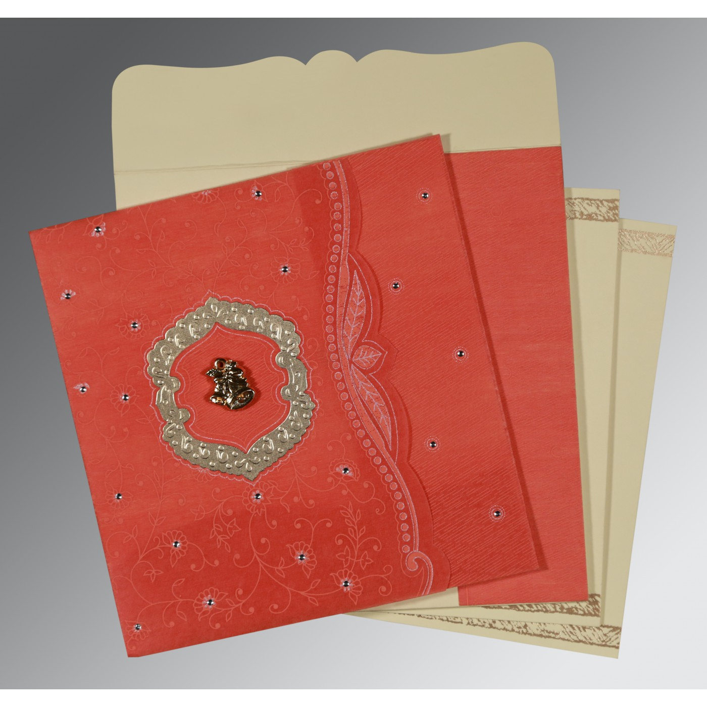 SWEET NECTAR SHIMMERY FLORAL THEMED - EMBOSSED WEDDING CARD : C-8209M - 123WeddingCards