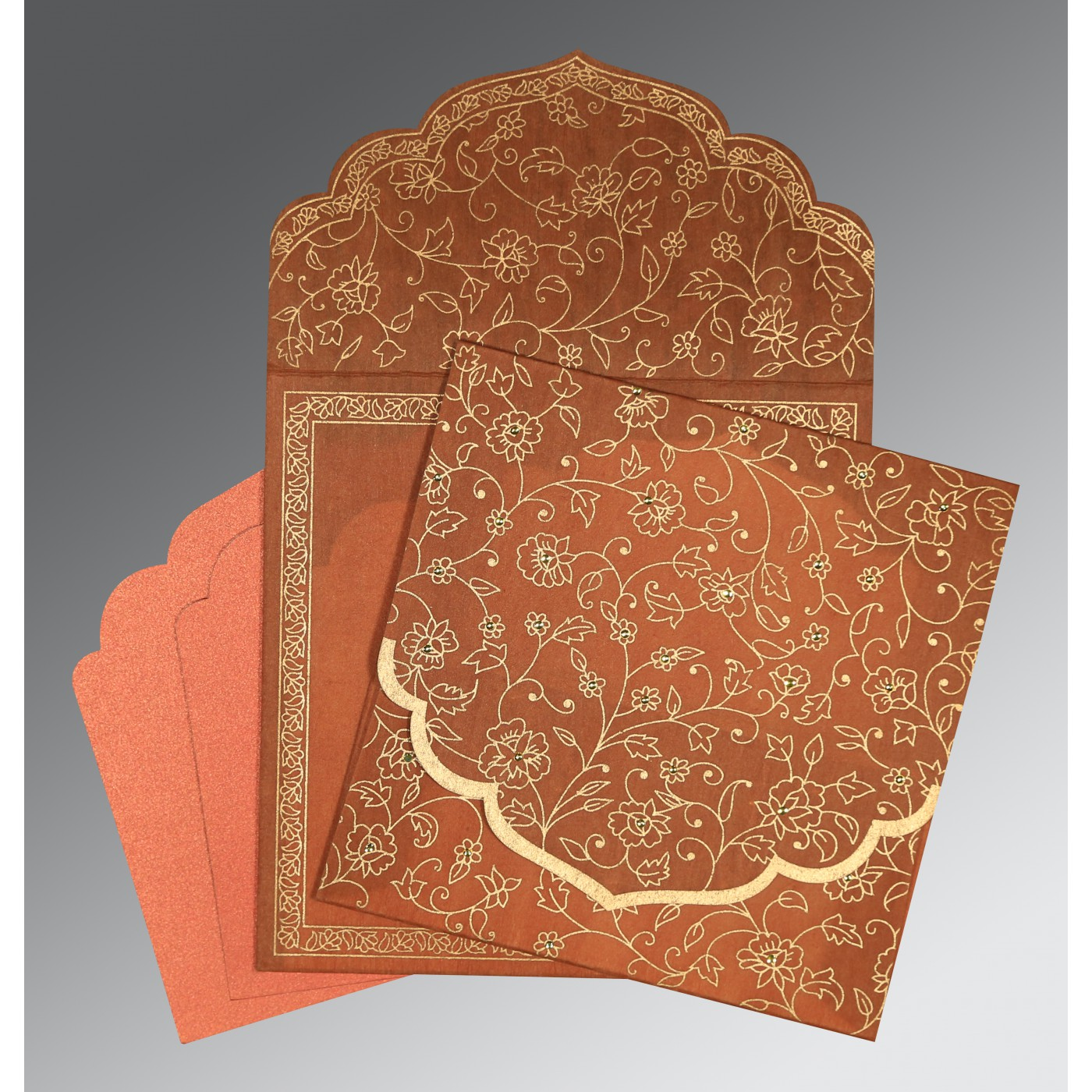 AUTUMN ORANGE WOOLY FLORAL THEMED - SCREEN PRINTED WEDDING INVITATION : C-8211H - 123WeddingCards