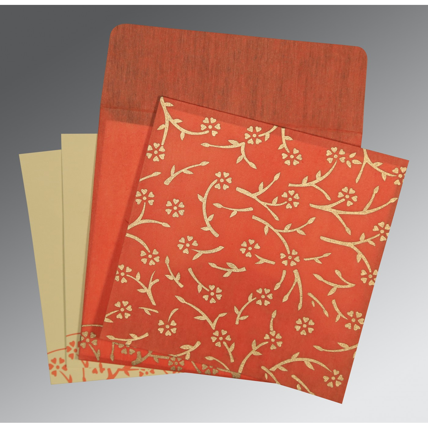 AUTUMN ORANGE WOOLY FLORAL THEMED - SCREEN PRINTED WEDDING INVITATION : D-8216G - 123WeddingCards