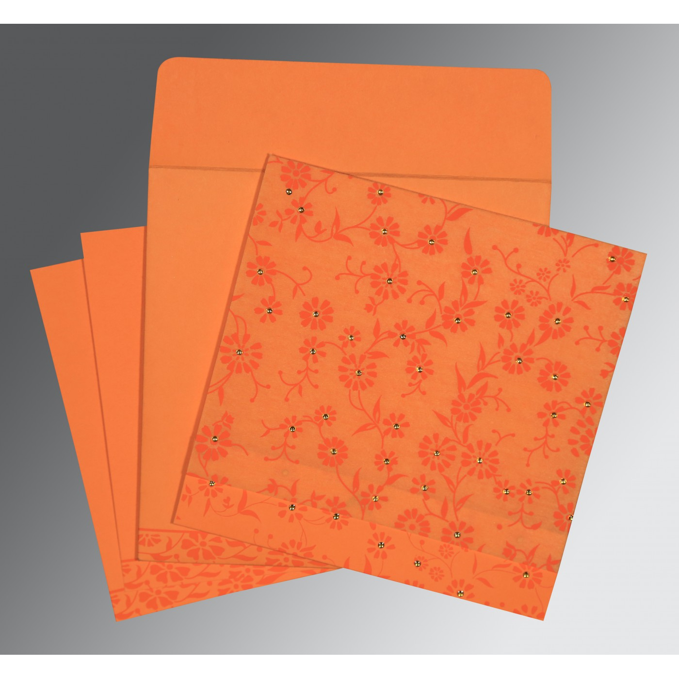 LIGHT ORANGE MATTE FLORAL THEMED - SCREEN PRINTED WEDDING CARD : D-8222C - 123WeddingCards