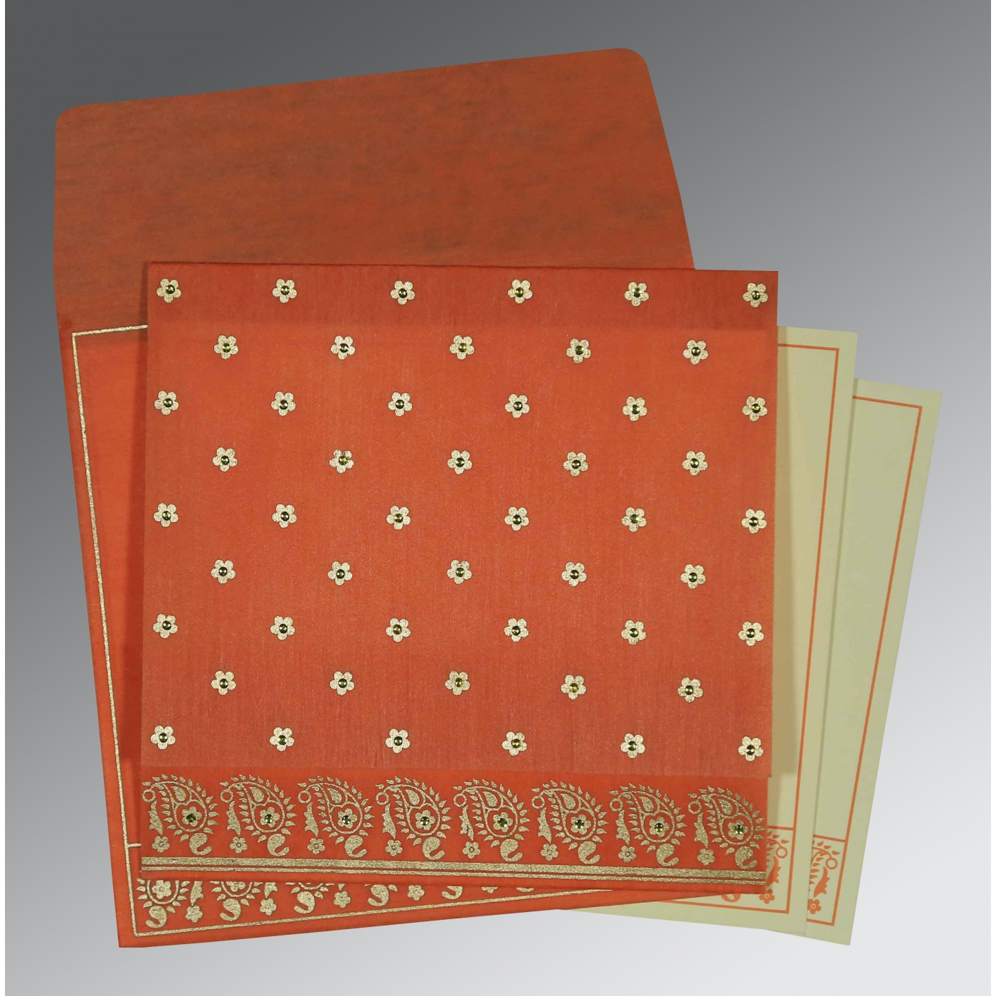 CORAL WOOLY FLORAL THEMED - SCREEN PRINTED WEDDING CARD : W-8218E - 123WeddingCards