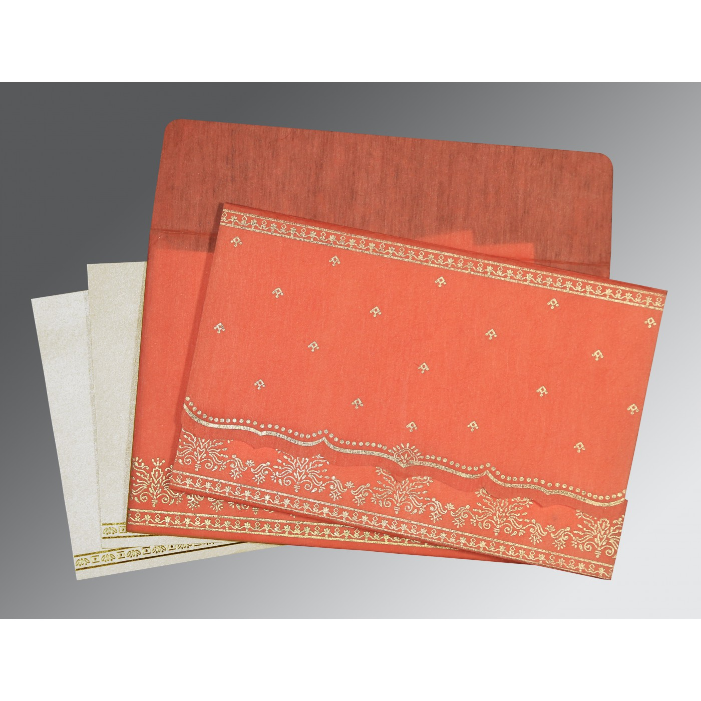CORAL WOOLY FOIL STAMPED WEDDING INVITATION : C-8241K - 123WeddingCards