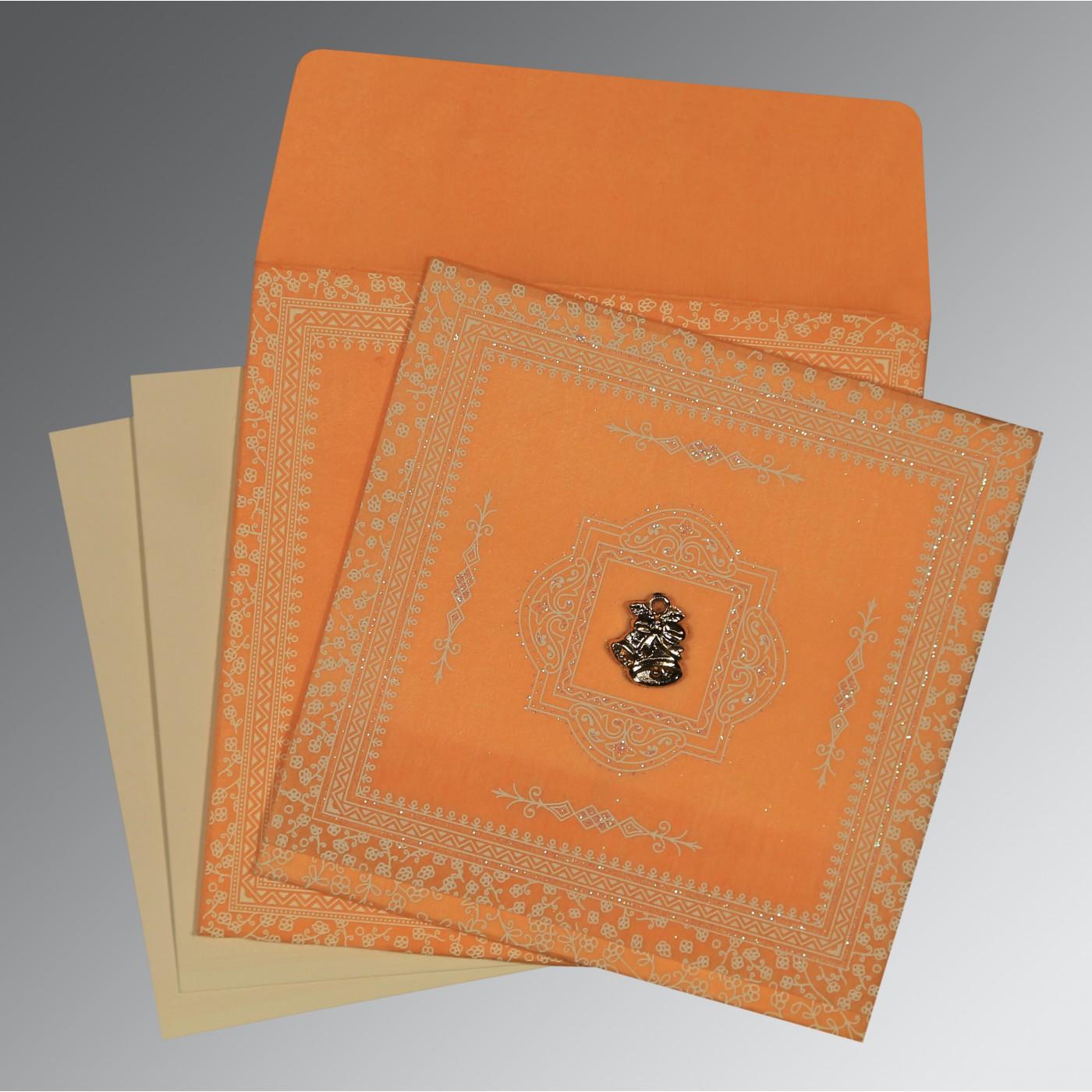 ORANGE WOOLY GLITTER WEDDING CARD : C-8205H - 123WeddingCards