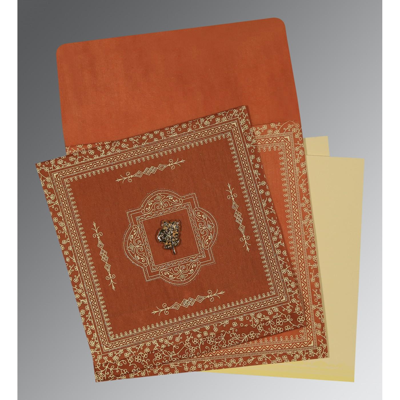 BURNT ORANGE WOOLY SCREEN PRINTED WEDDING CARD : C-1050 - 123WeddingCards