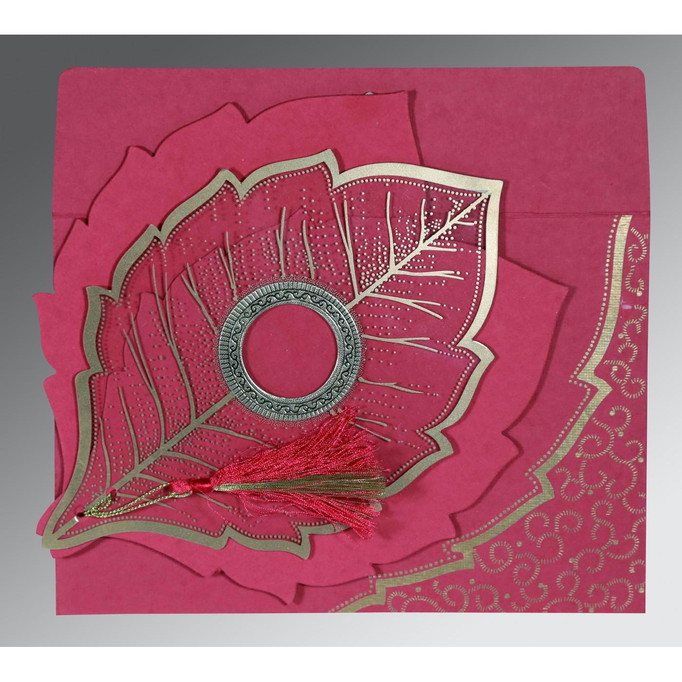 HOT PINK TRANSPARENT HANDMADE COTTON FLORAL THEMED - FOIL STAMPED WEDDING CARD : C-8219F - 123WeddingCards