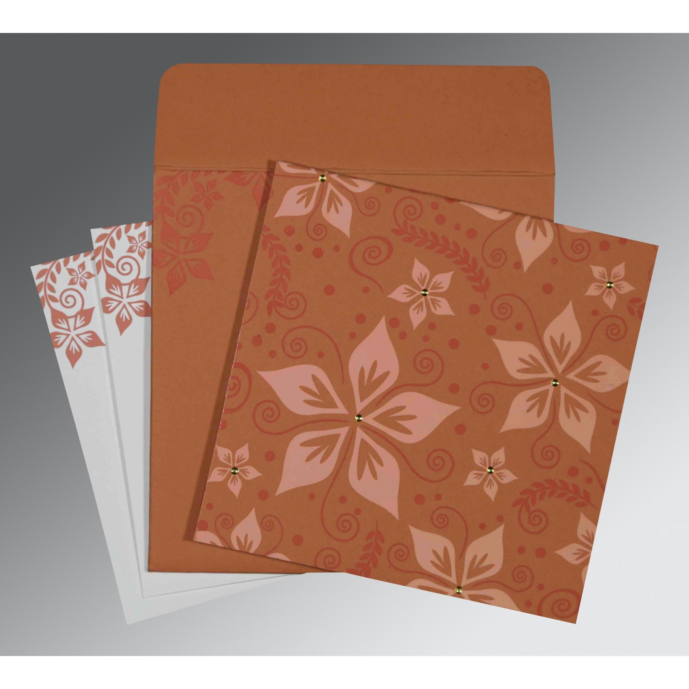 LIGHT BROWN MATTE FLORAL THEMED - SCREEN PRINTED WEDDING INVITATION : C-8240H - 123WeddingCards