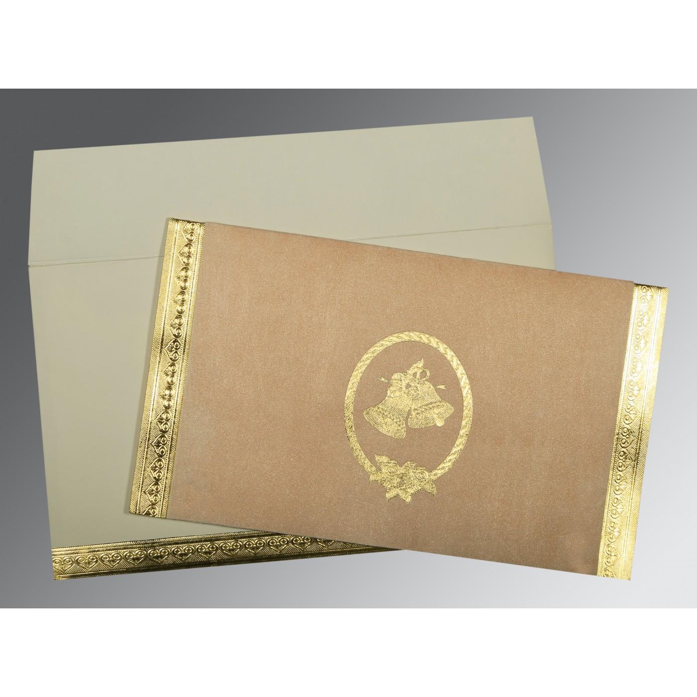 PEACH OFF-WHITE MATTE FOIL STAMPED WEDDING CARD : C-0012 - 123WeddingCards