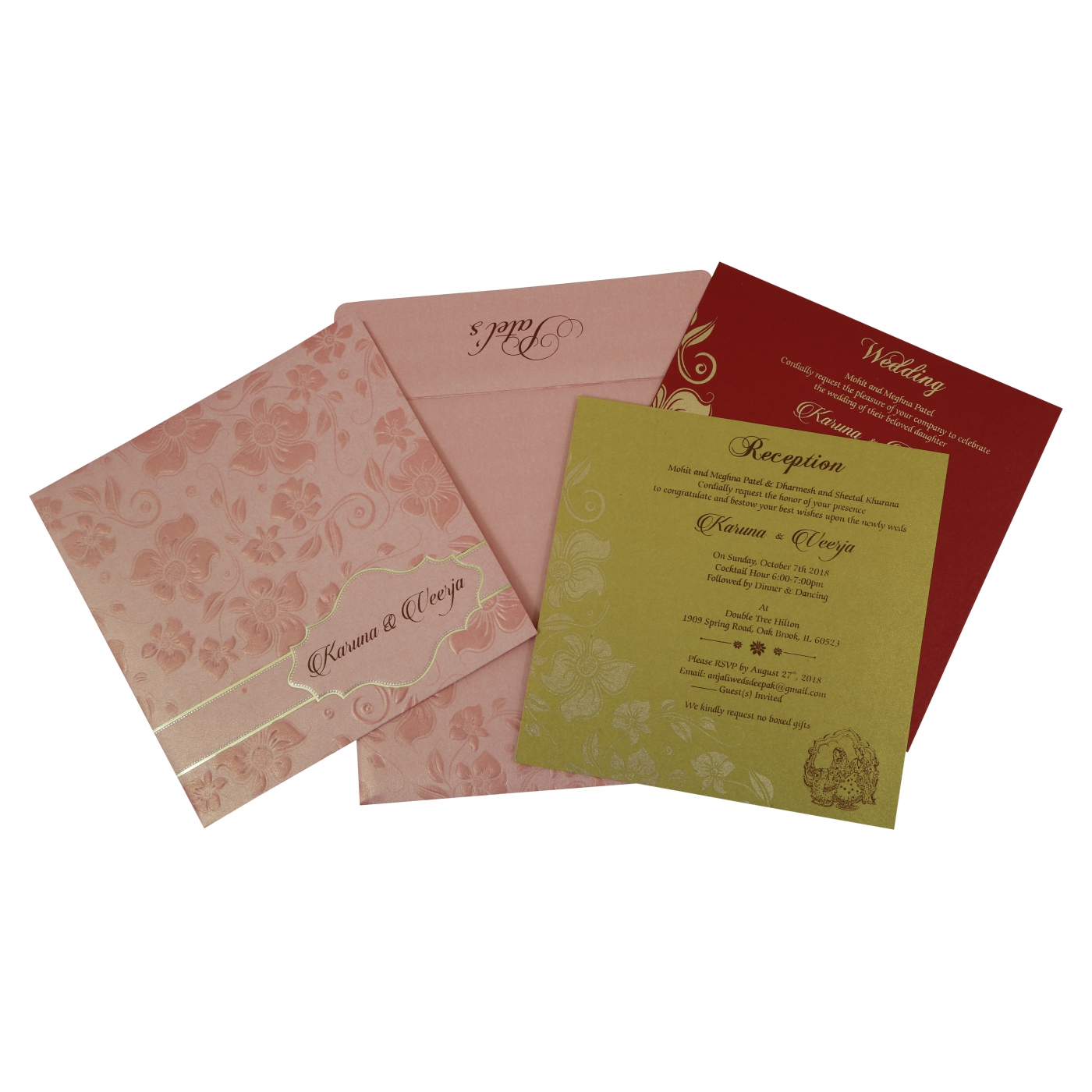 BABY PINK SHIMMERY FLORAL THEMED - FOIL STAMPED WEDDING INVITATION : D-1793 - 123WeddingCards