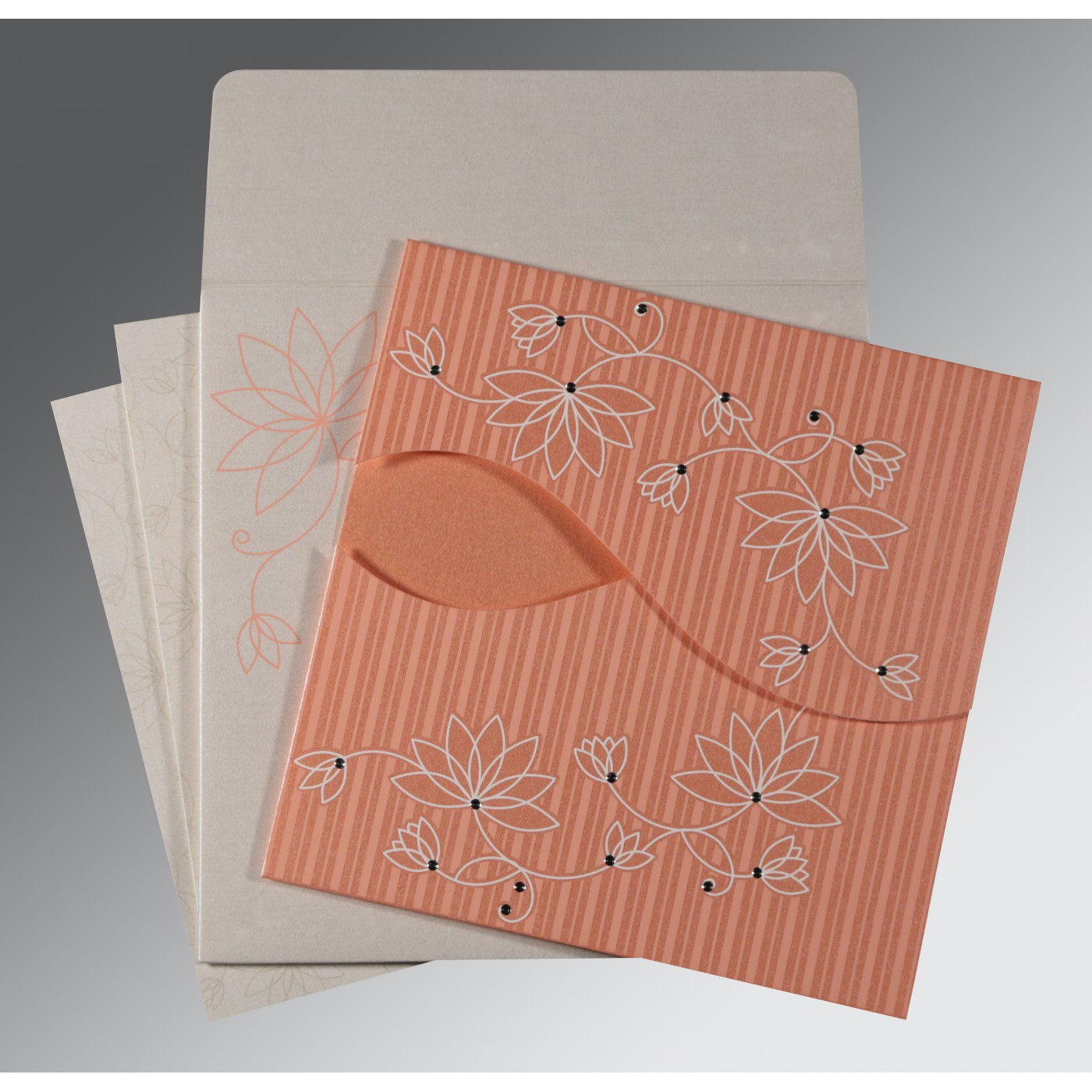 CORAL SHIMMERY FLORAL THEMED - SCREEN PRINTED WEDDING INVITATION : C-8251I - 123WeddingCards
