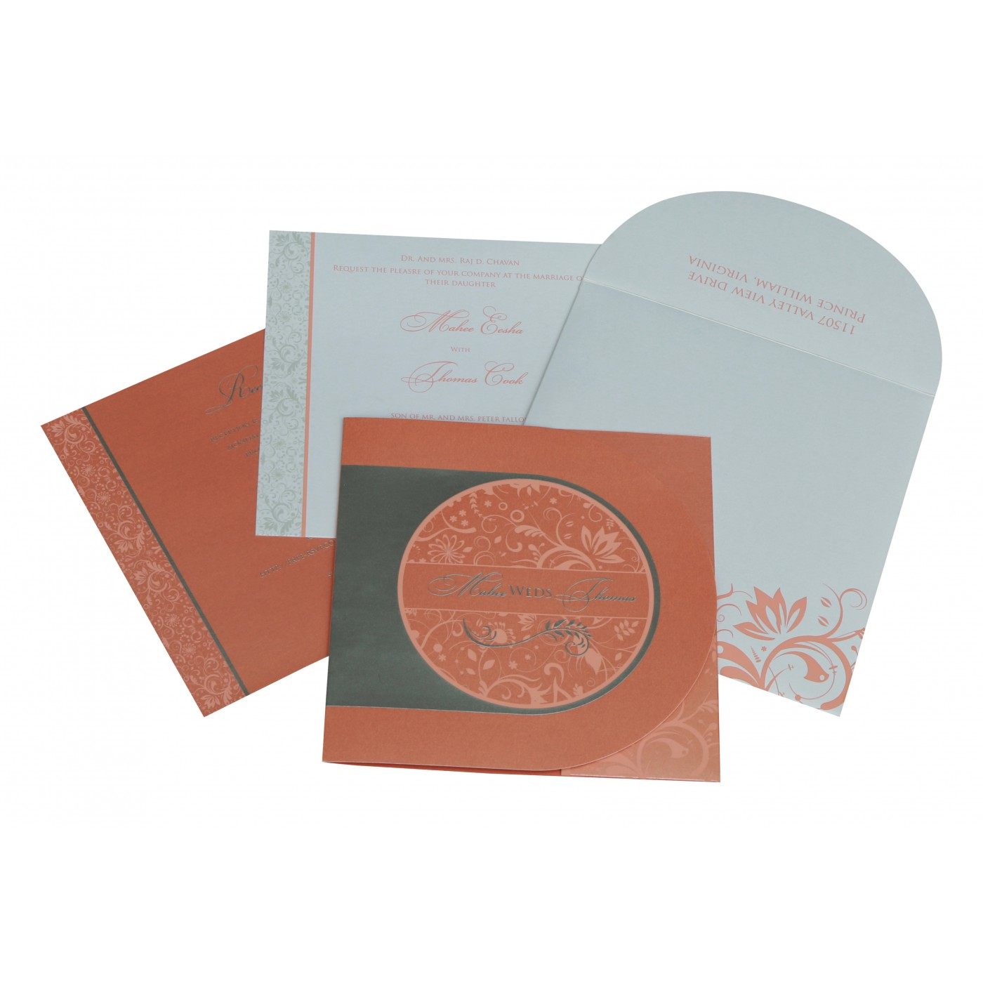 STRONG RED ORANGE SHIMMERY FLORAL THEMED - SCREEN PRINTED WEDDING CARD : C-8264A - 123WeddingCards