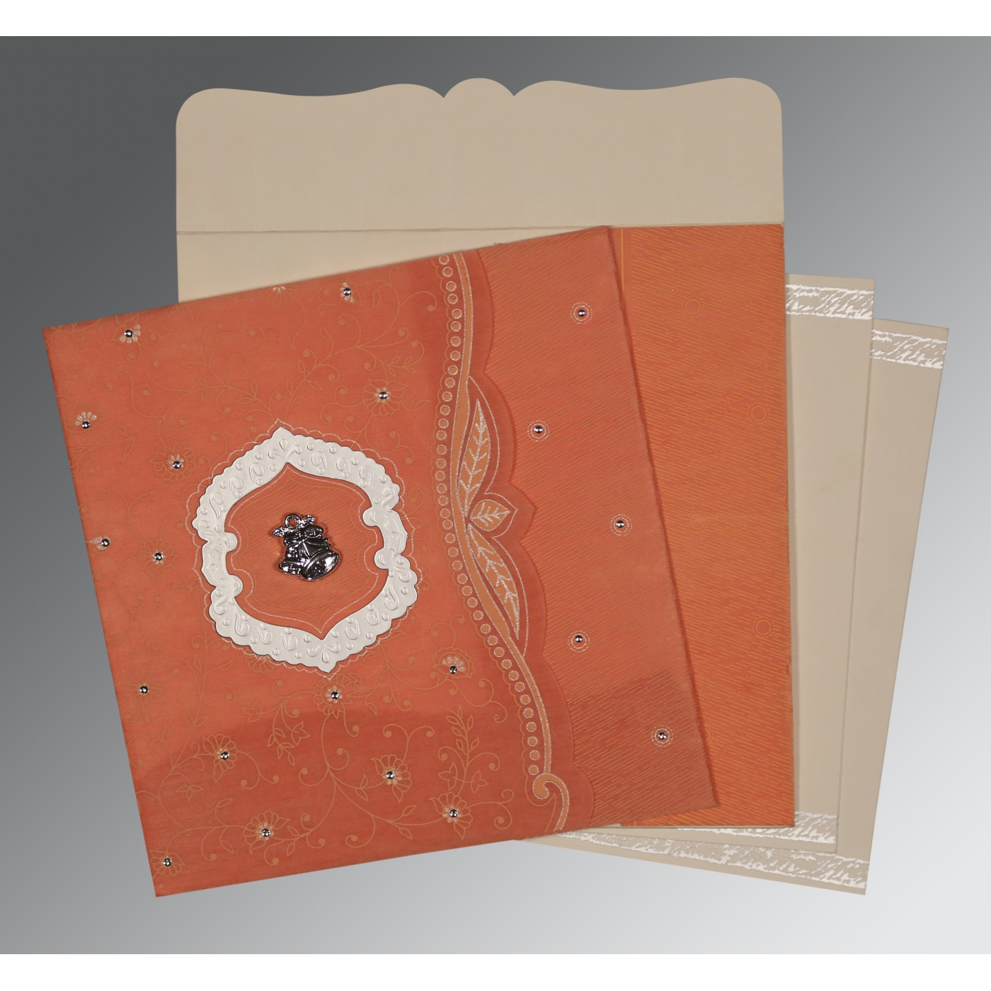 ORANGE SHIMMERY FLORAL THEMED - EMBOSSED WEDDING CARD : C-8209A - 123WeddingCards