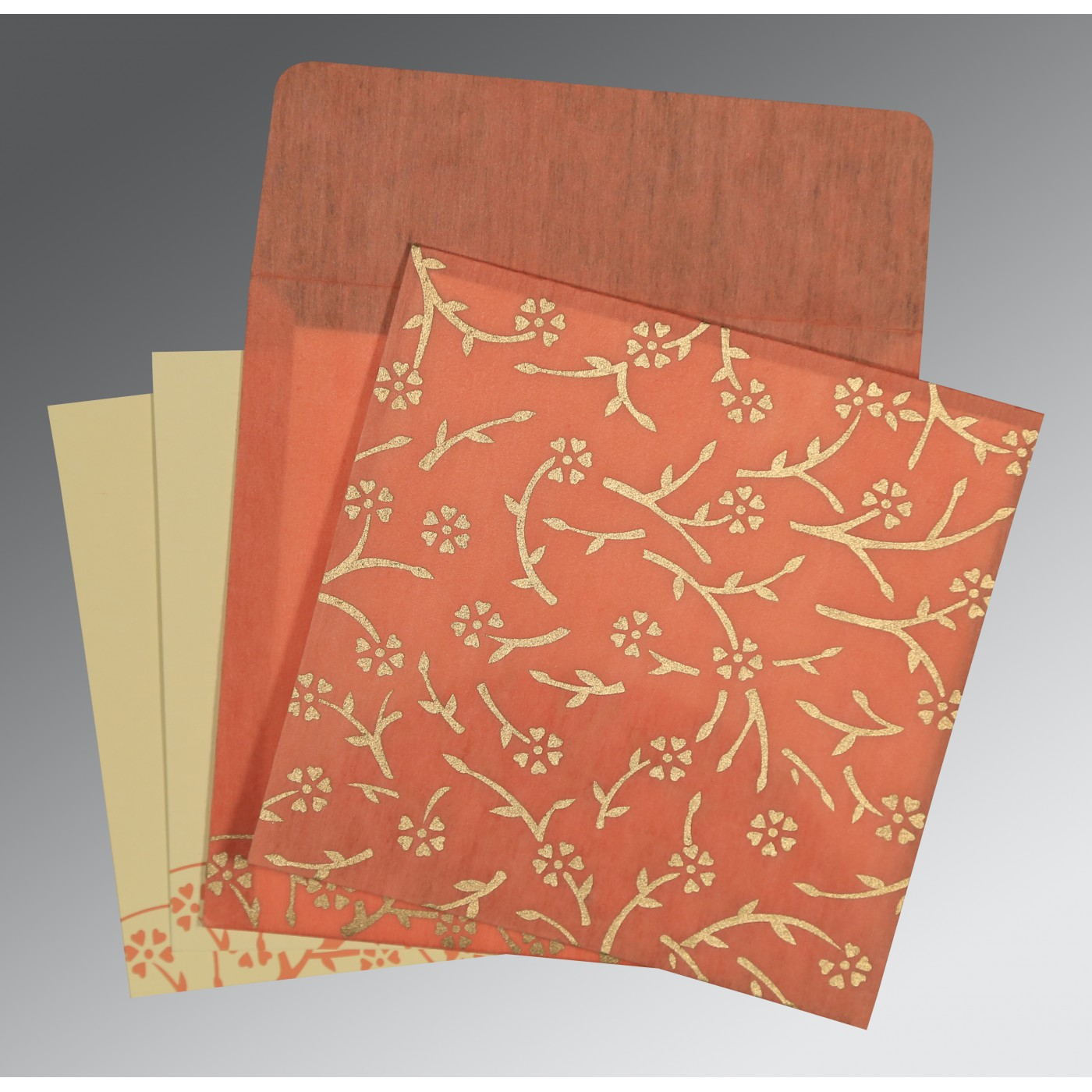 SALMON WOOLY FLORAL THEMED - SCREEN PRINTED WEDDING INVITATION : C-8216P - 123WeddingCards