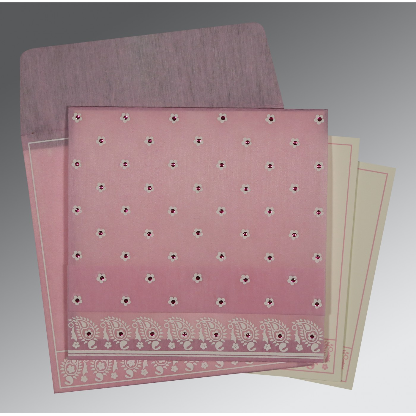 AZALEA PINK WOOLY FLORAL THEMED - SCREEN PRINTED WEDDING CARD : D-8218J - 123WeddingCards