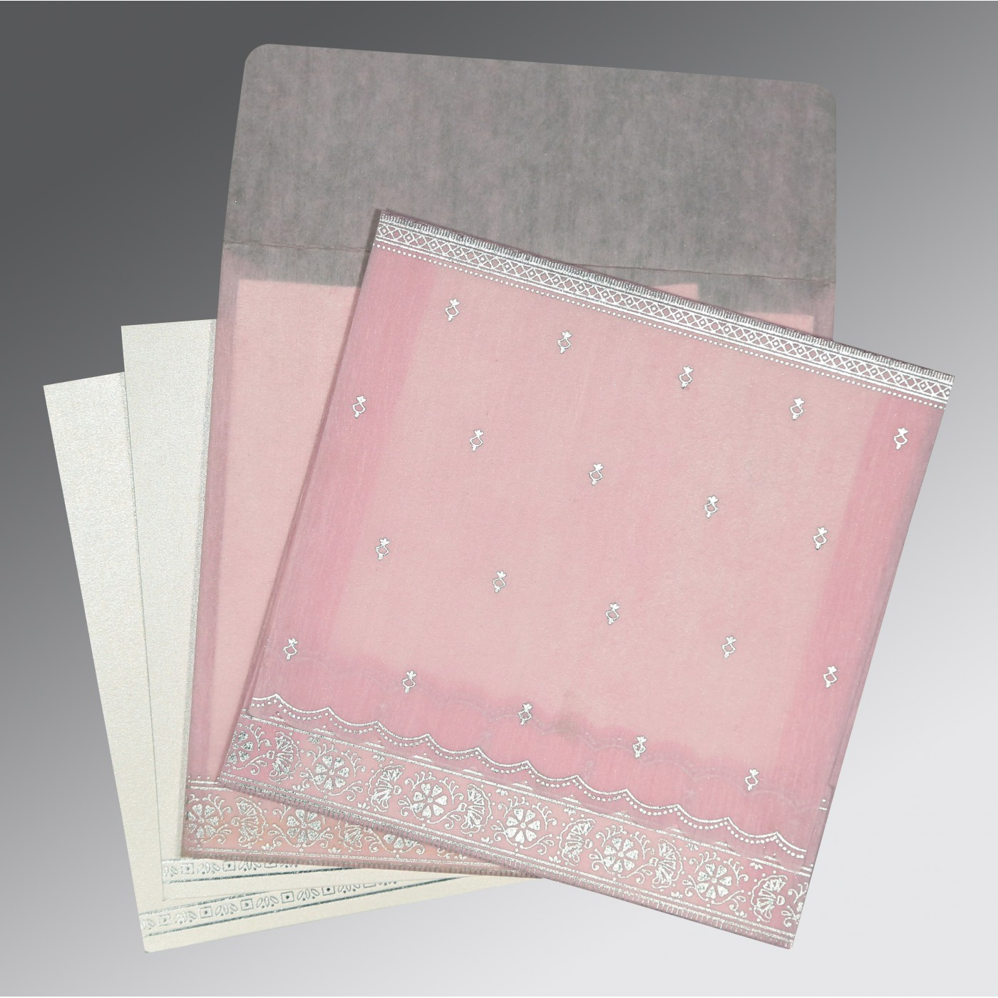 BABY PINK WOOLY FOIL STAMPED WEDDING CARD : C-8242N - 123WeddingCards