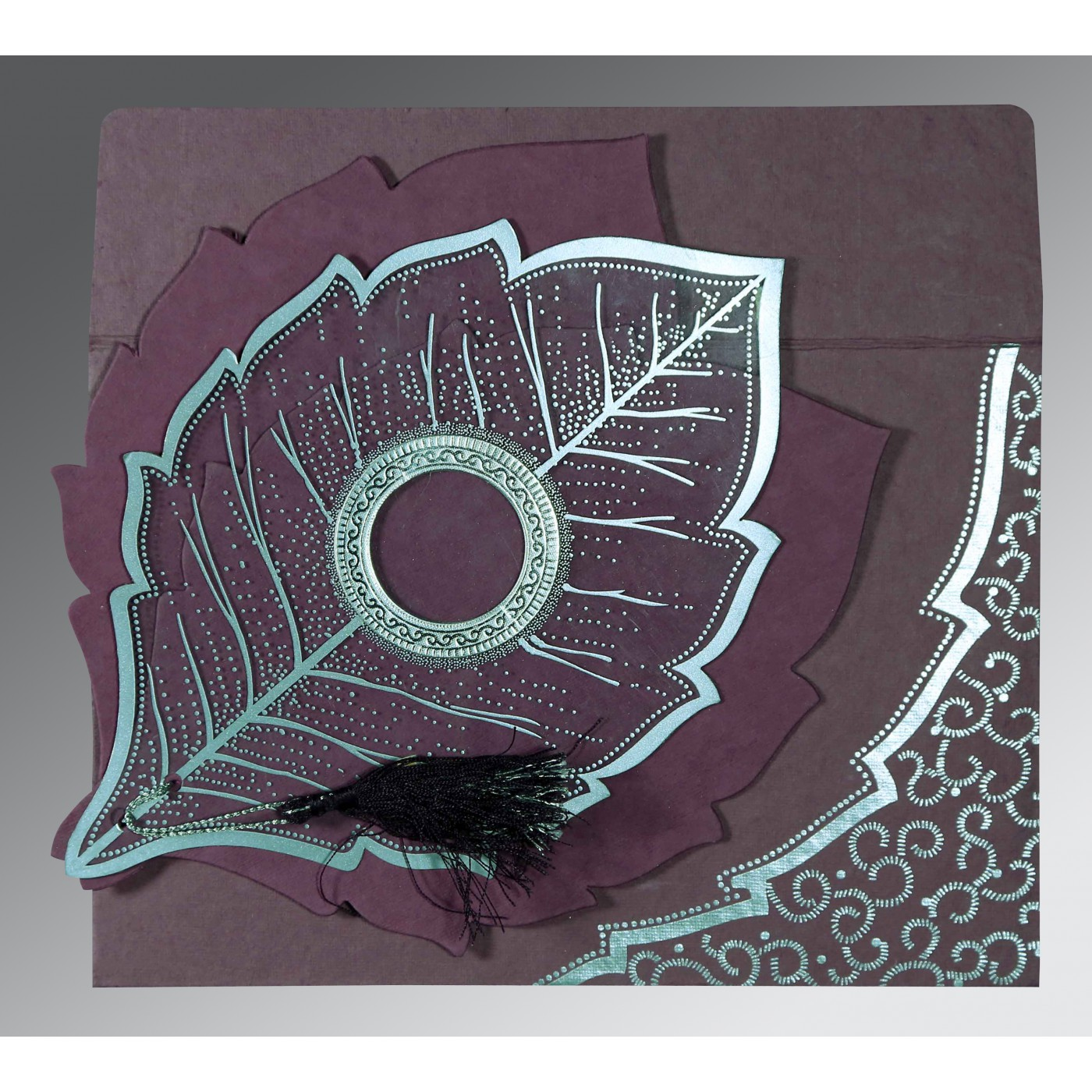 PURPLE HANDMADE COTTON FLORAL THEMED - FOIL STAMPED WEDDING CARD : D-8219O - 123WeddingCards