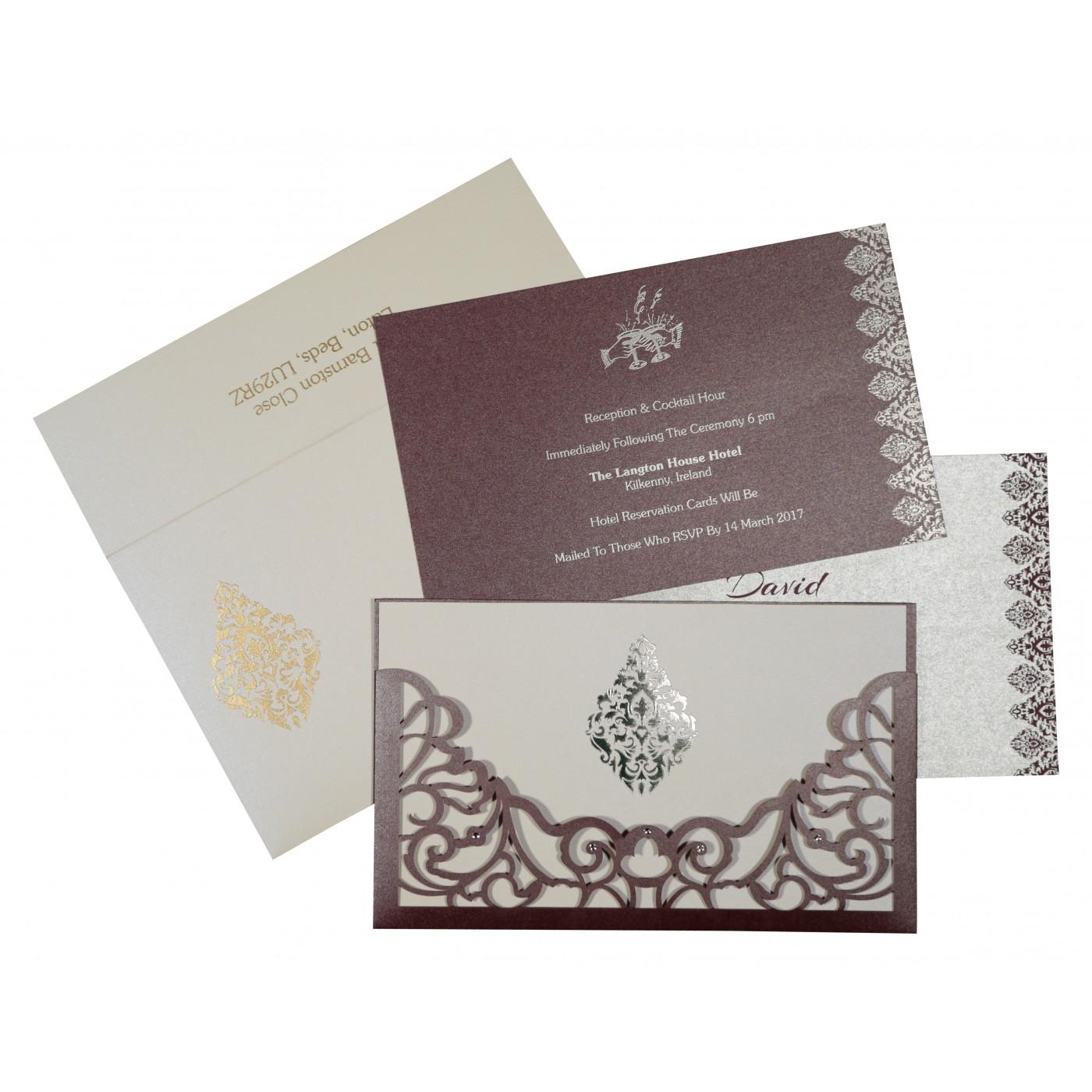 DESATURATED PINK SHIMMERY DAMASK THEMED - LASER CUT WEDDING CARD : C-8262B - 123WeddingCards