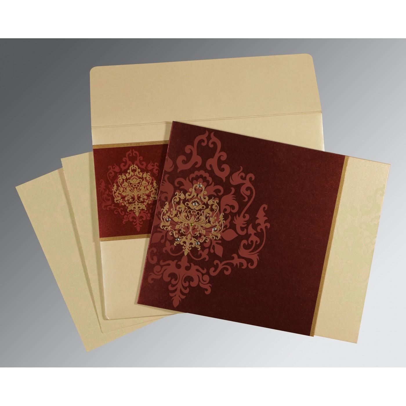 DERBY BROWN SHIMMERY DAMASK THEMED - SCREEN PRINTED WEDDING CARD : IN-8253F - 123WeddingCards