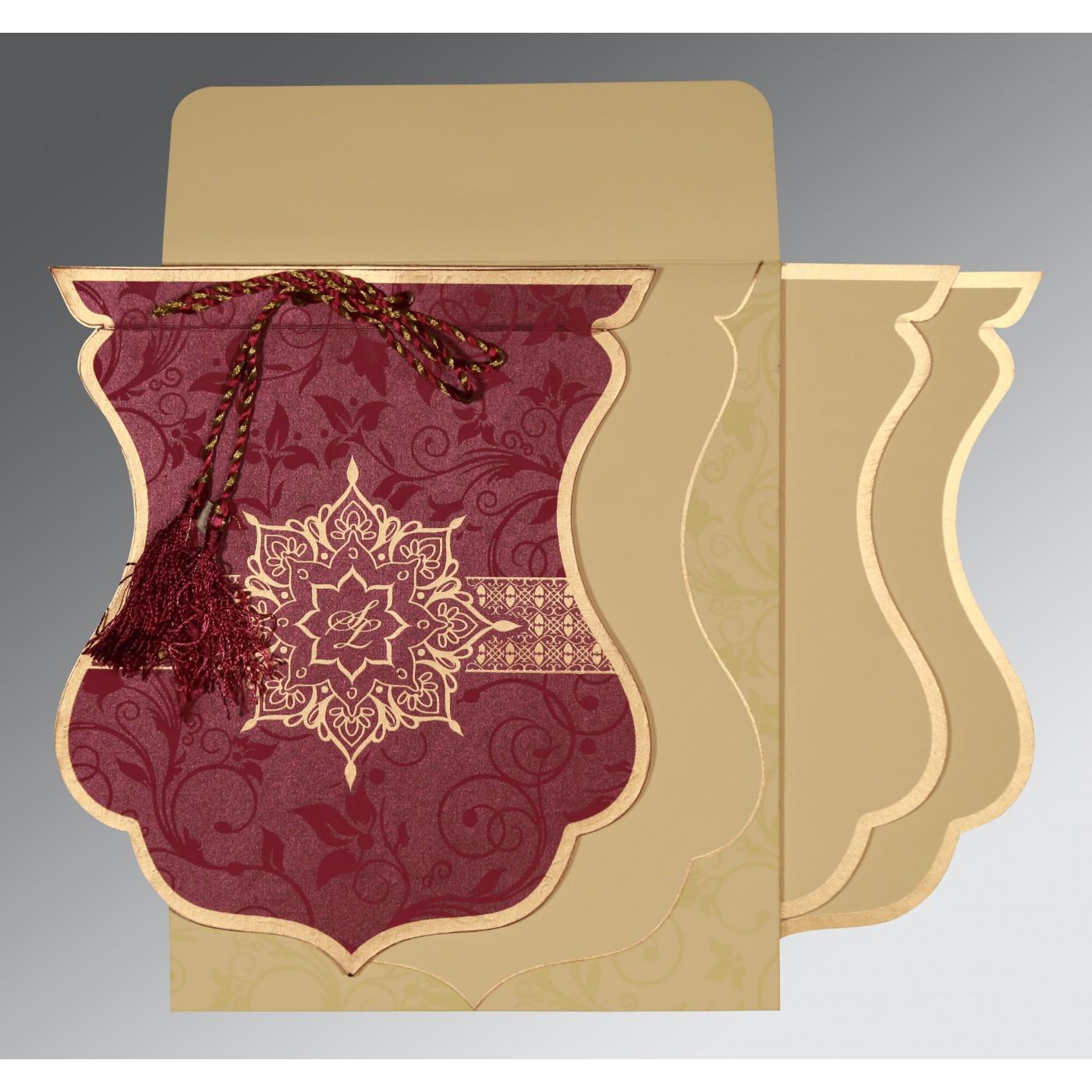 CLARET SHIMMERY FLORAL THEMED - SCREEN PRINTED WEDDING CARD : C-8229K - 123WeddingCards