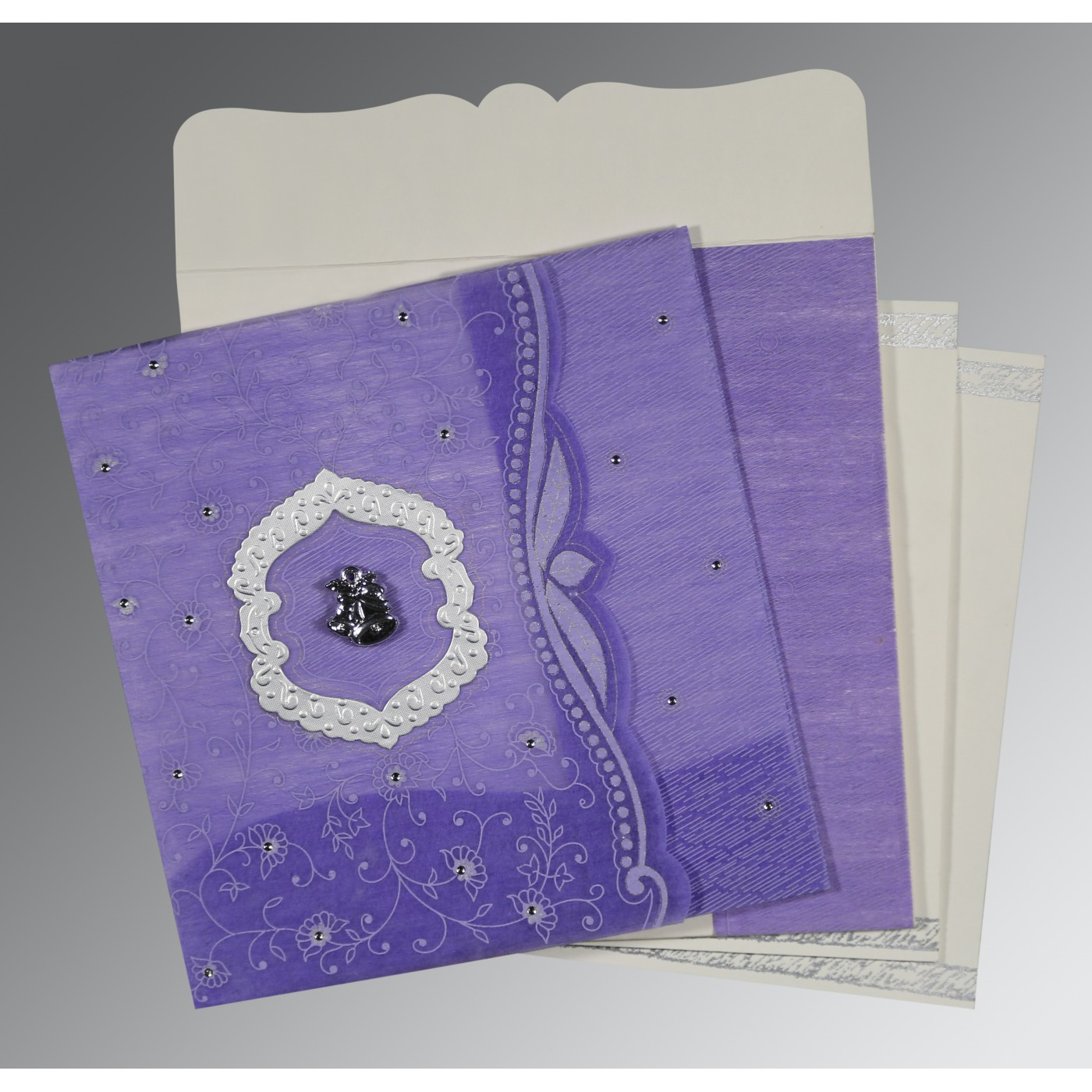 DARK PURPLE SHIMMERY FLORAL THEMED - EMBOSSED WEDDING CARD : C-8209C - 123WeddingCards