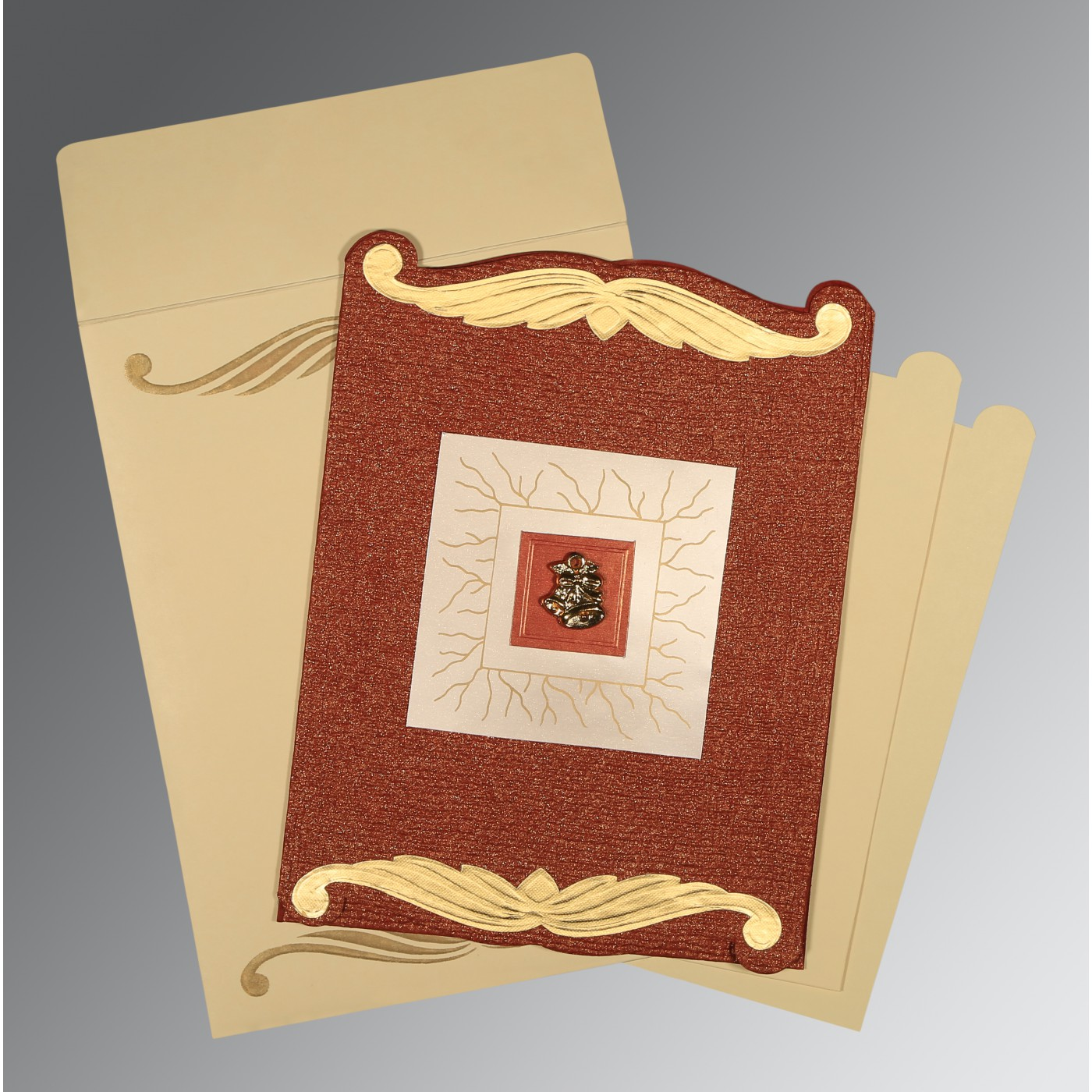 BRICK RED GOLD SHIMMERY EMBOSSED WEDDING CARD : C-1412 - 123WeddingCards