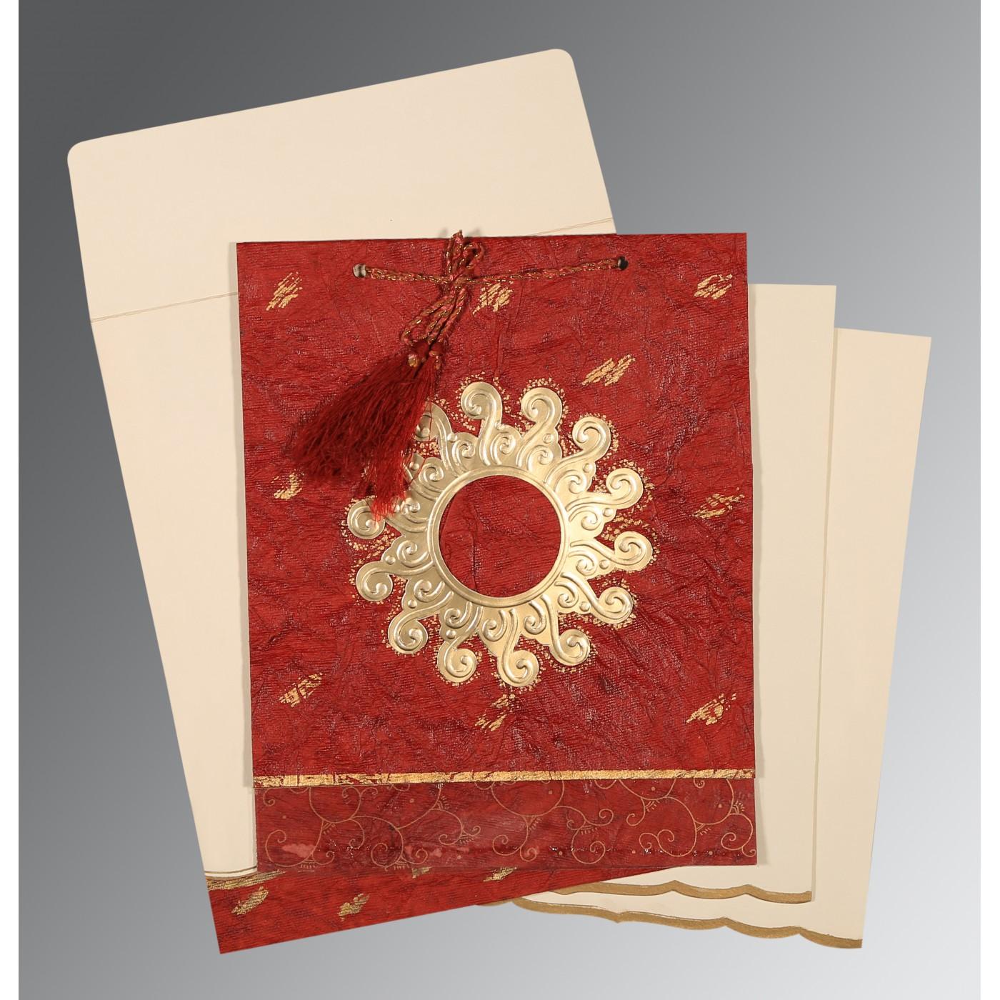 MAROON GOLD SHIMMERY EMBOSSED WEDDING INVITATION : D-1264 - 123WeddingCards