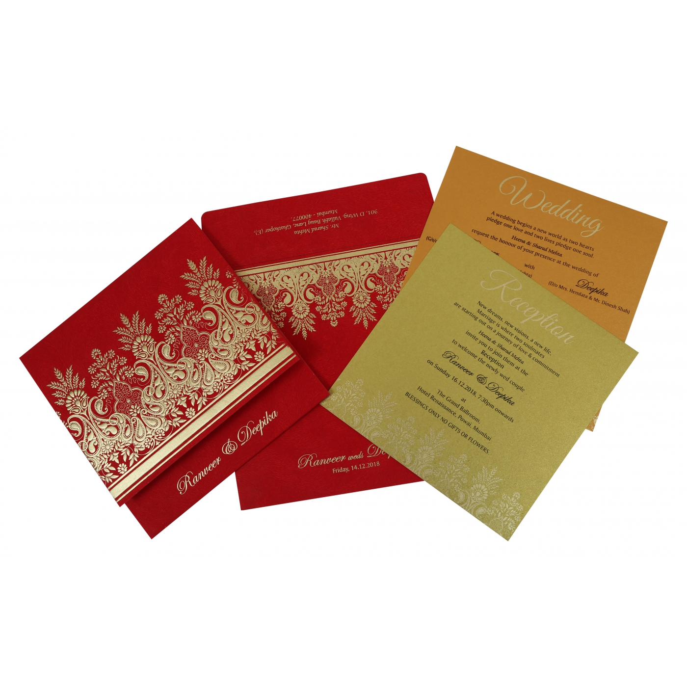 BRICK RED MATTE EMBOSSED WEDDING INVITATION : IN-1780 - 123WeddingCards