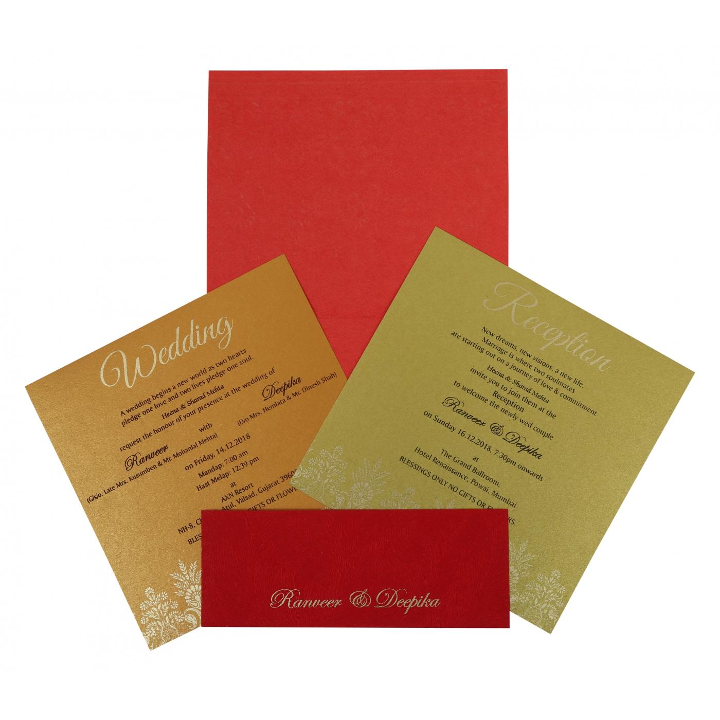 BRICK RED MATTE EMBOSSED WEDDING INVITATION : IN-1780 - 123WeddingCards