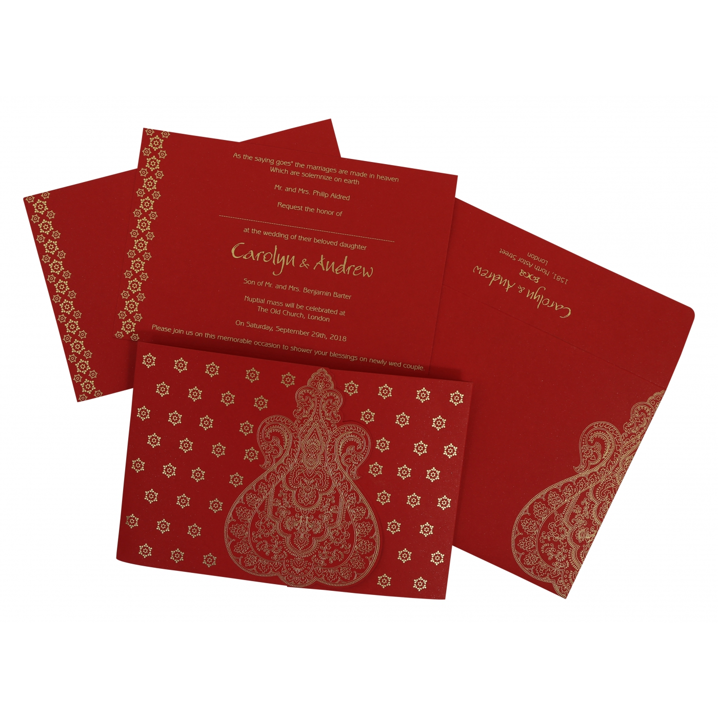 RUBY SCREEN PRINTED WEDDING INVITATION : IN-801B - 123WeddingCards