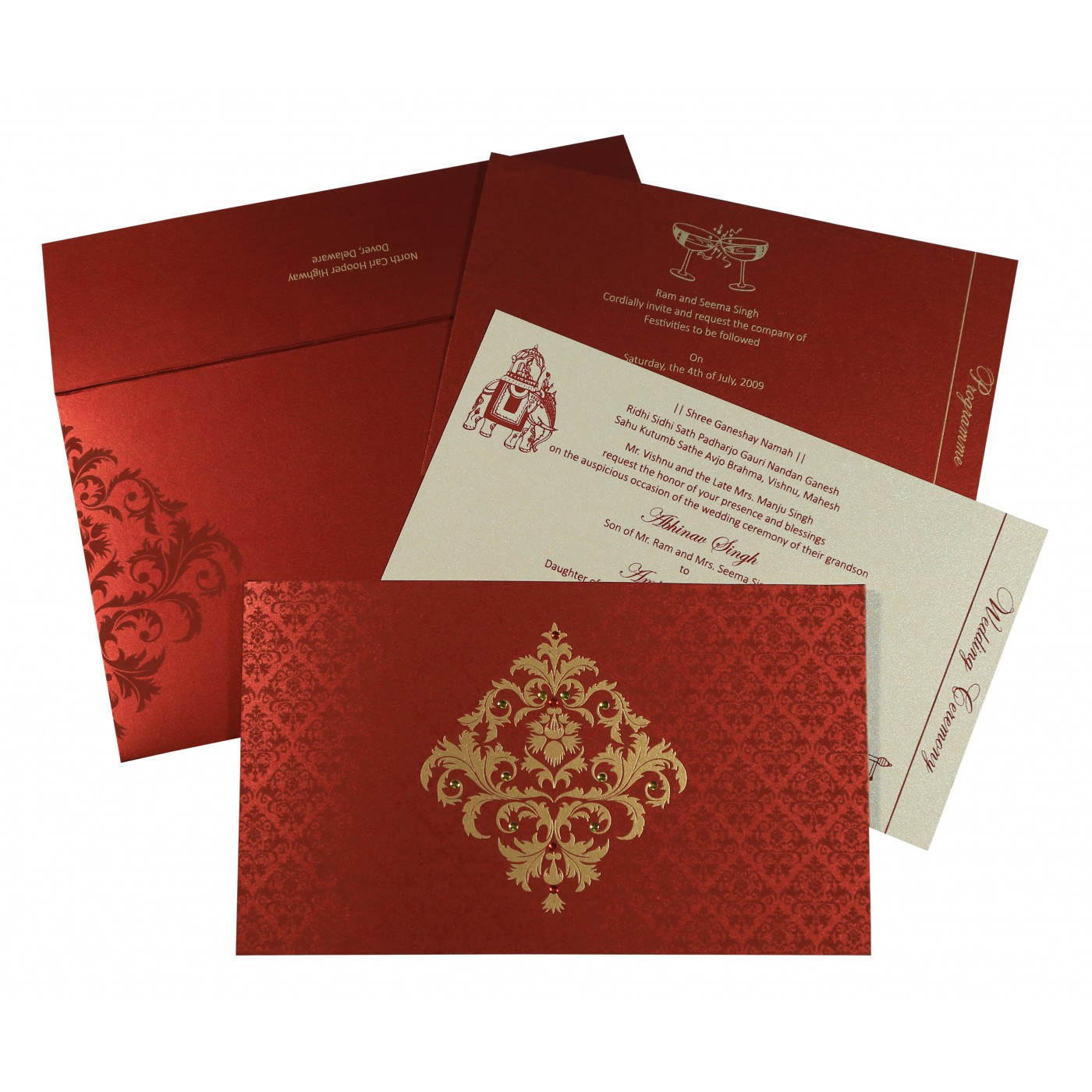 MODERATE RED SHIMMERY DAMASK THEMED - SCREEN PRINTED WEDDING CARD : C-8257H - 123WeddingCards