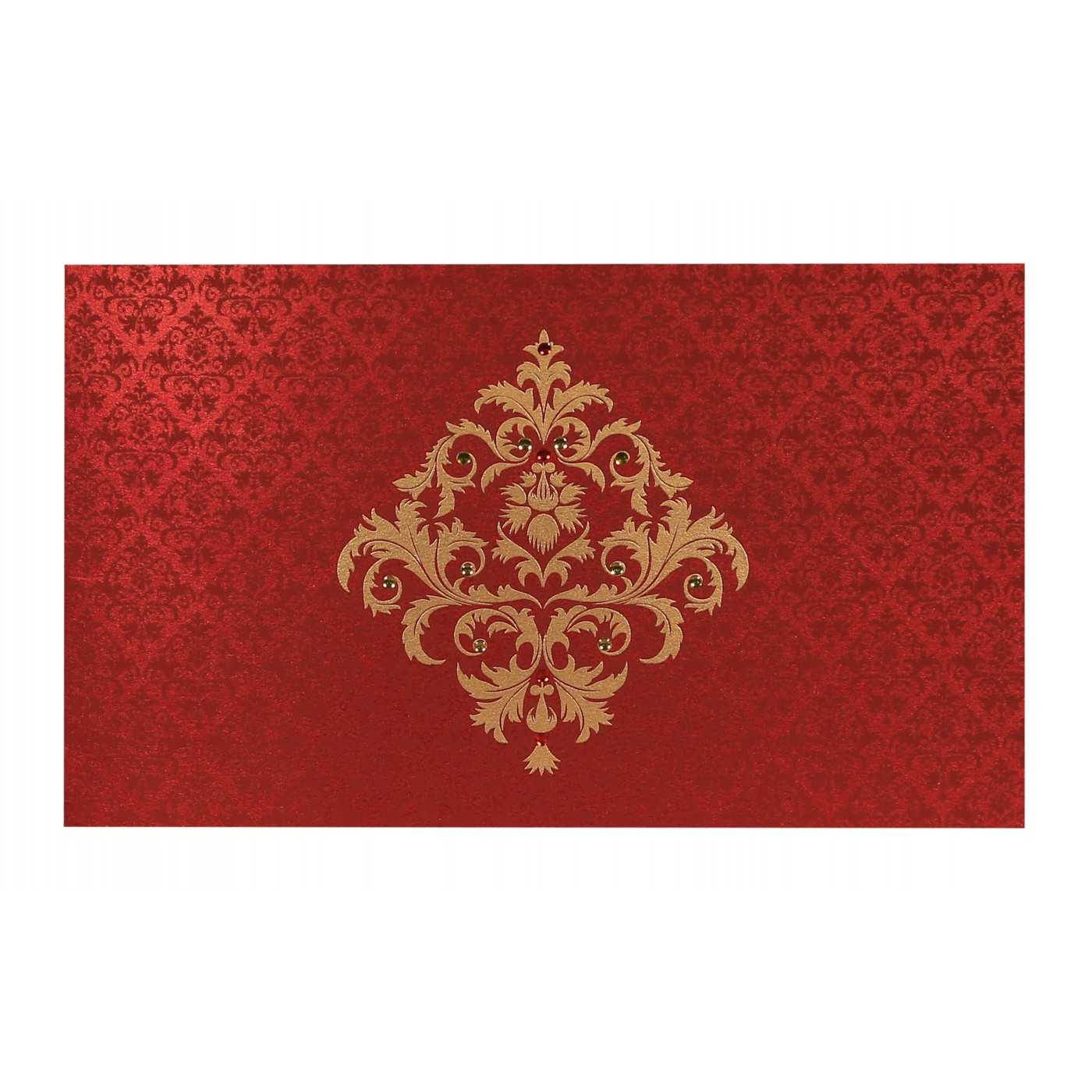 MODERATE RED SHIMMERY DAMASK THEMED - SCREEN PRINTED WEDDING CARD ...