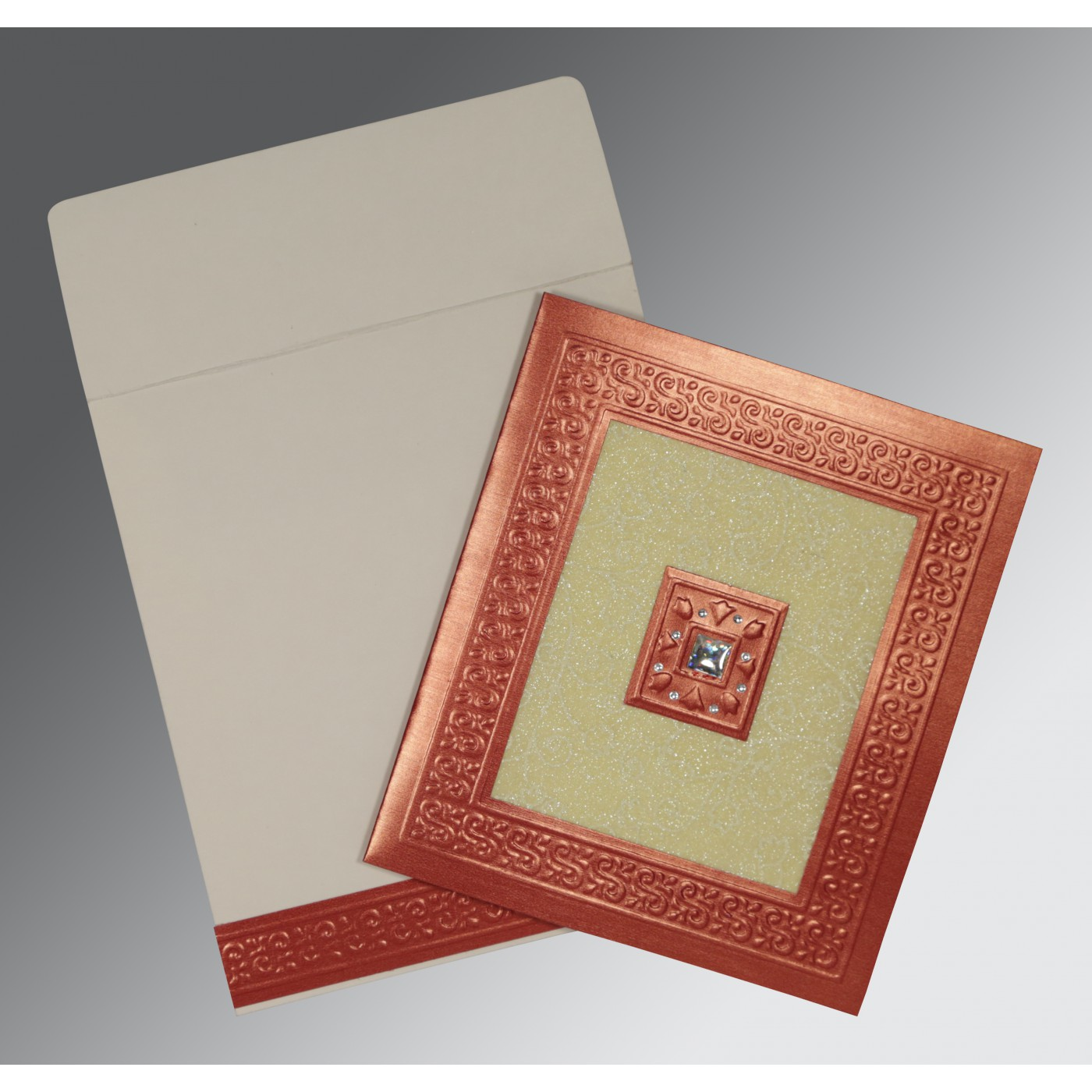 CREAM RED SHIMMERY EMBOSSED WEDDING INVITATION : C-1411 - 123WeddingCards