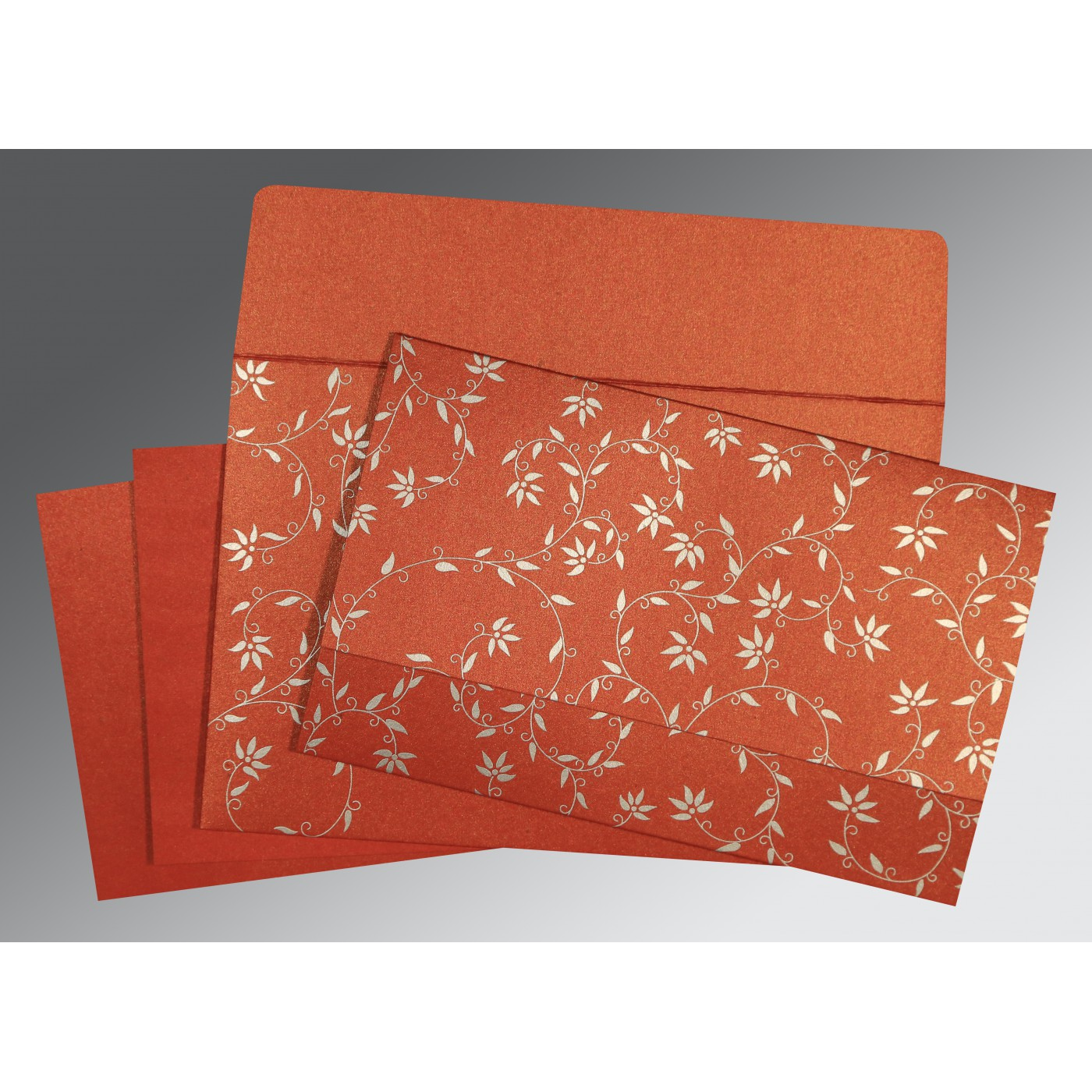 BRICK RED SHIMMERY FLORAL THEMED - SCREEN PRINTED WEDDING INVITATION : C-8226I - 123WeddingCards