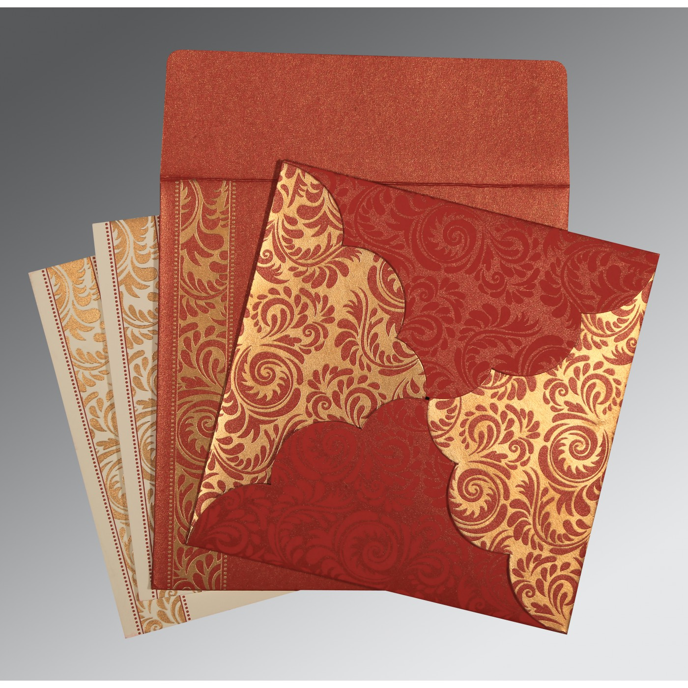 MAXICON RED SHIMMERY FLORAL THEMED - SCREEN PRINTED WEDDING CARD : I ...