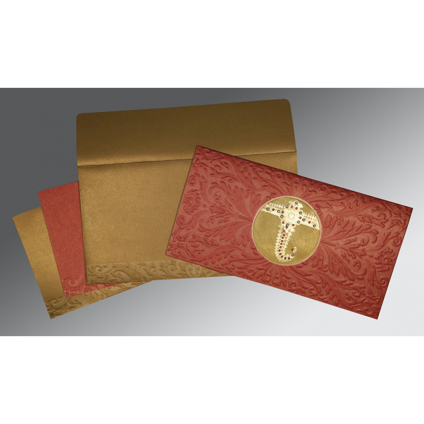 BRICK RED COPPER SHIMMERY FOIL STAMPED WEDDING CARD : C-1463 - 123WeddingCards