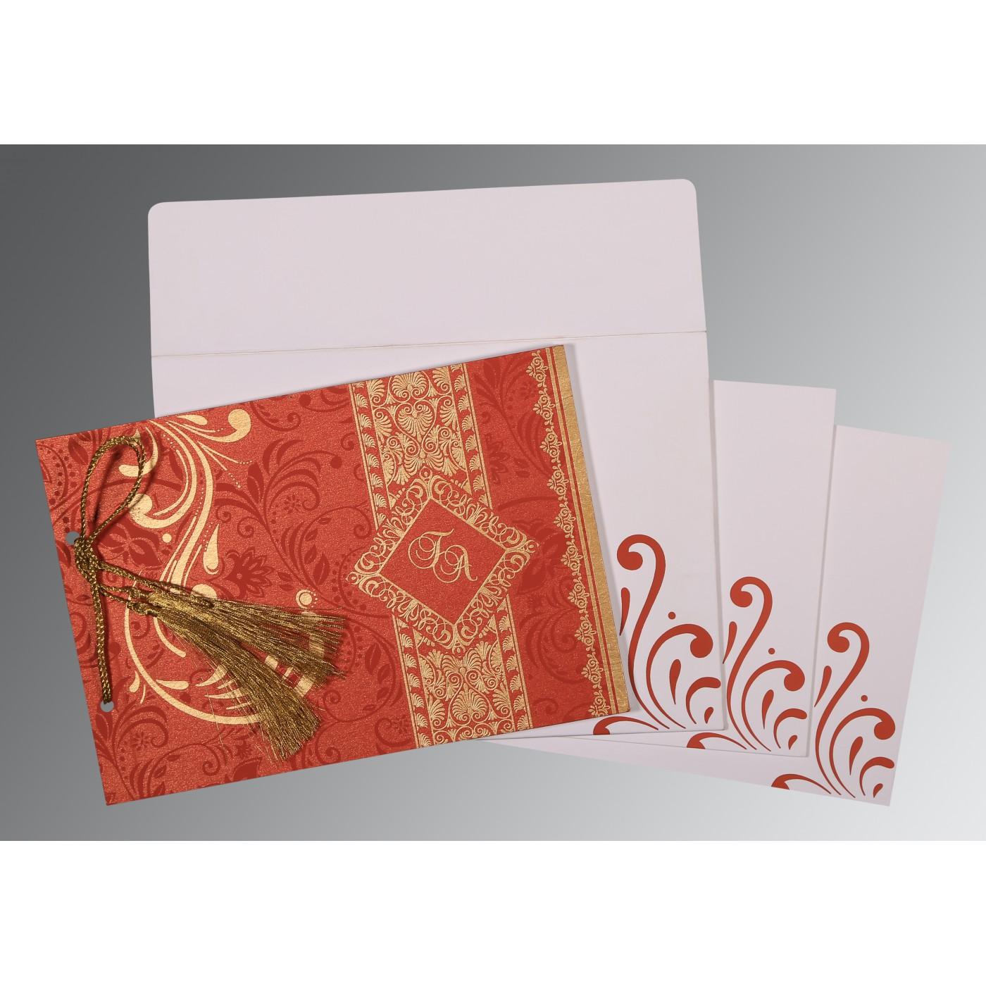 RED SHIMMERY SCREEN PRINTED WEDDING CARD : C-8223F - 123WeddingCards