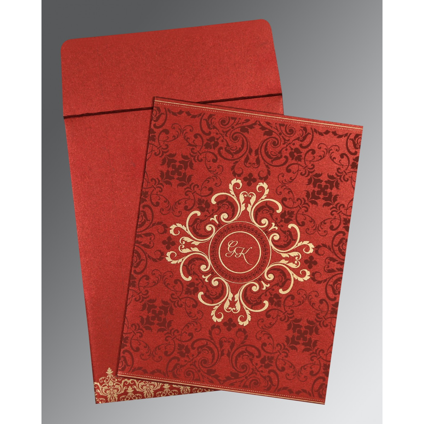 WINE RED SHIMMERY SCREEN PRINTED WEDDING CARD : C-8244E - 123WeddingCards