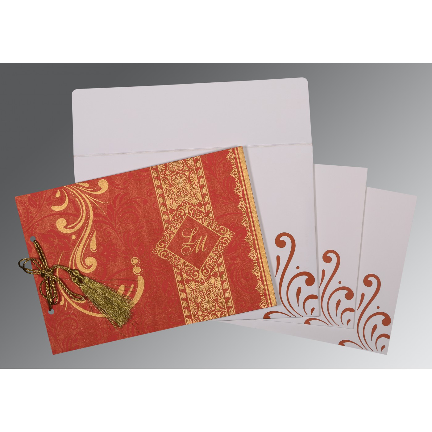 BURNT ORANGE SHIMMERY SCREEN PRINTED WEDDING CARD : D-8223C - 123WeddingCards