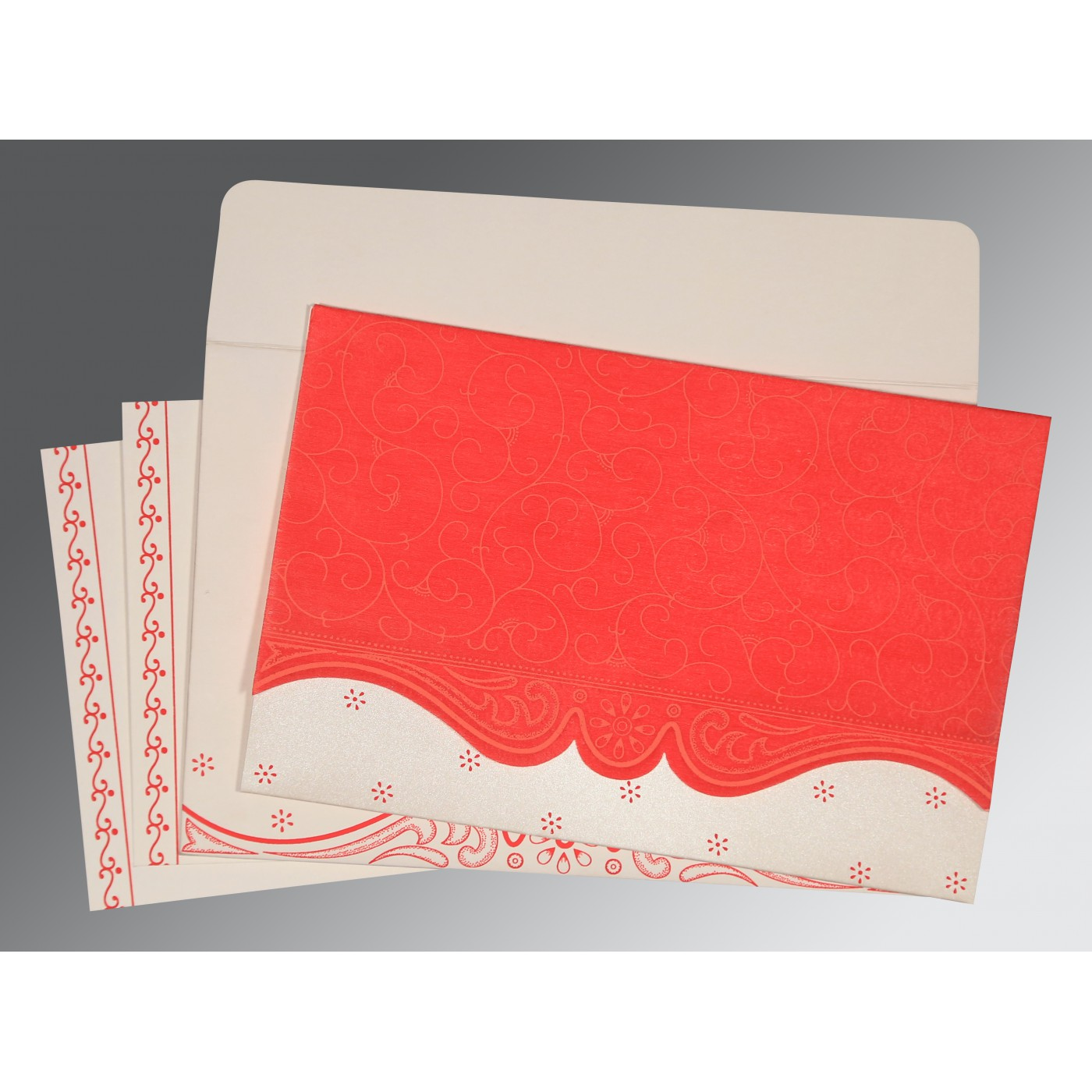 SCARLET MATTE EMBOSSED WEDDING INVITATION : G-8221J - 123WeddingCards