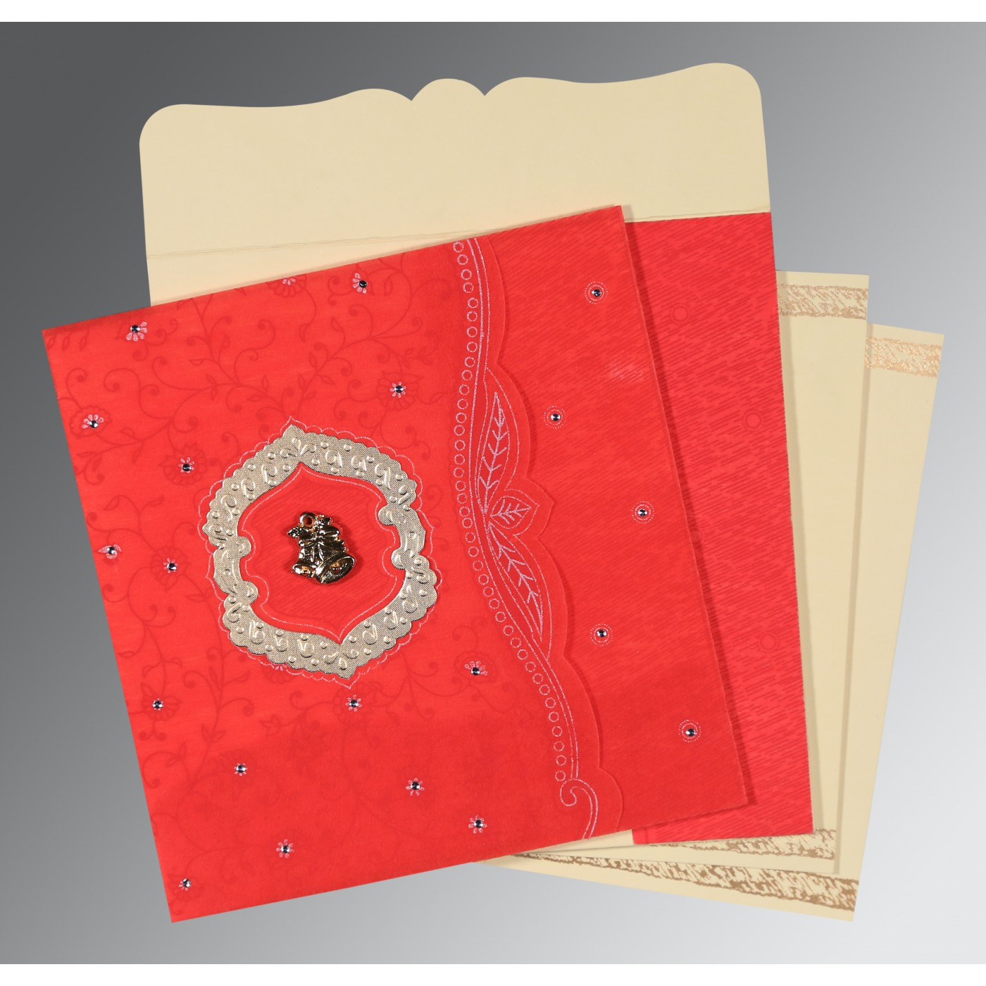 SCARLET SHIMMERY FLORAL THEMED - EMBOSSED WEDDING CARD : C-8209I - 123WeddingCards