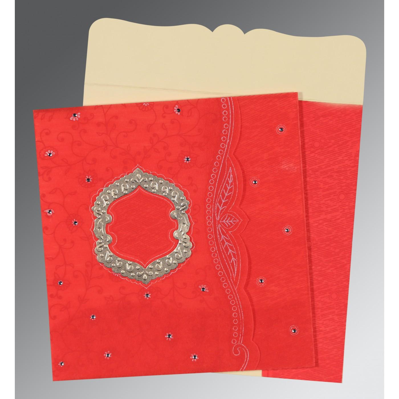 SCARLET SHIMMERY FLORAL THEMED - EMBOSSED WEDDING CARD : D-8209I ...