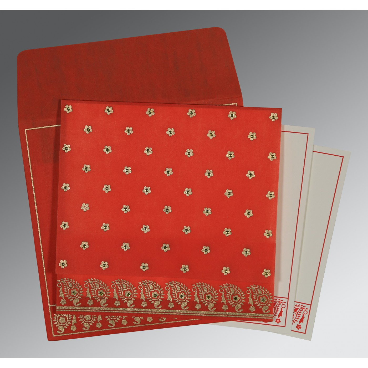 SCARLET WOOLY FLORAL THEMED - SCREEN PRINTED WEDDING CARD : C-8218M - 123WeddingCards