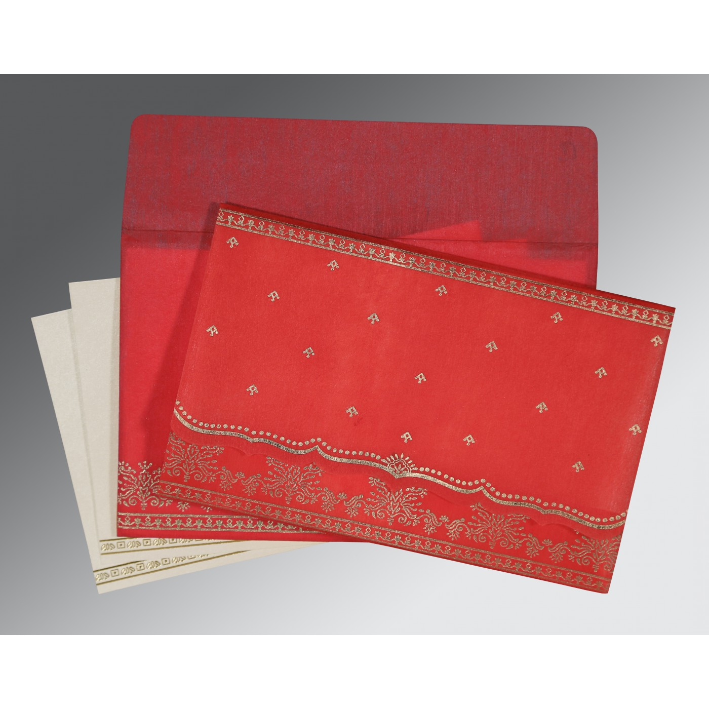 IMPERIAL RED WOOLY FOIL STAMPED WEDDING INVITATION : C-8241Q - 123WeddingCards
