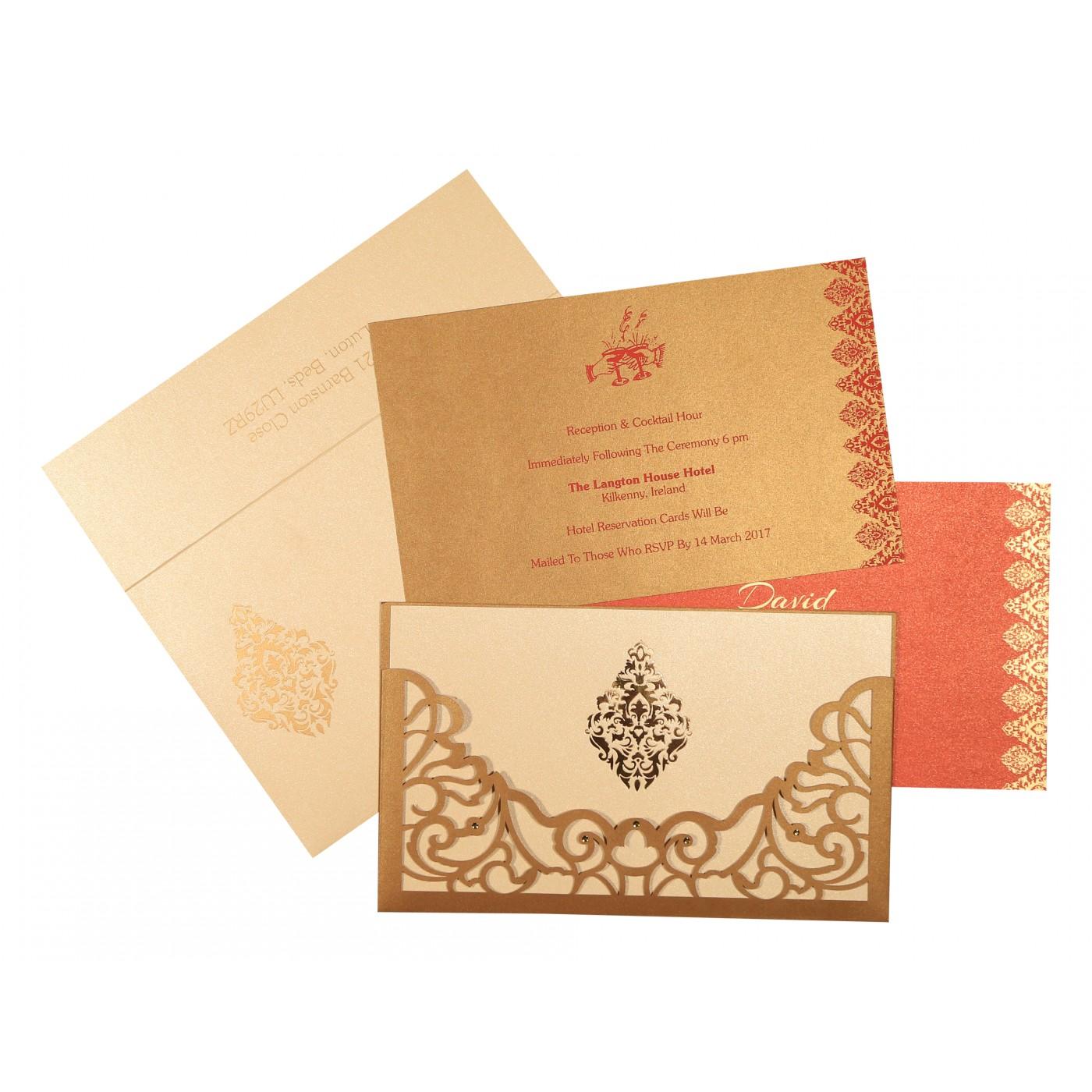 GOLD SHIMMERY DAMASK THEMED - LASER CUT WEDDING CARD : C-8262D - 123WeddingCards