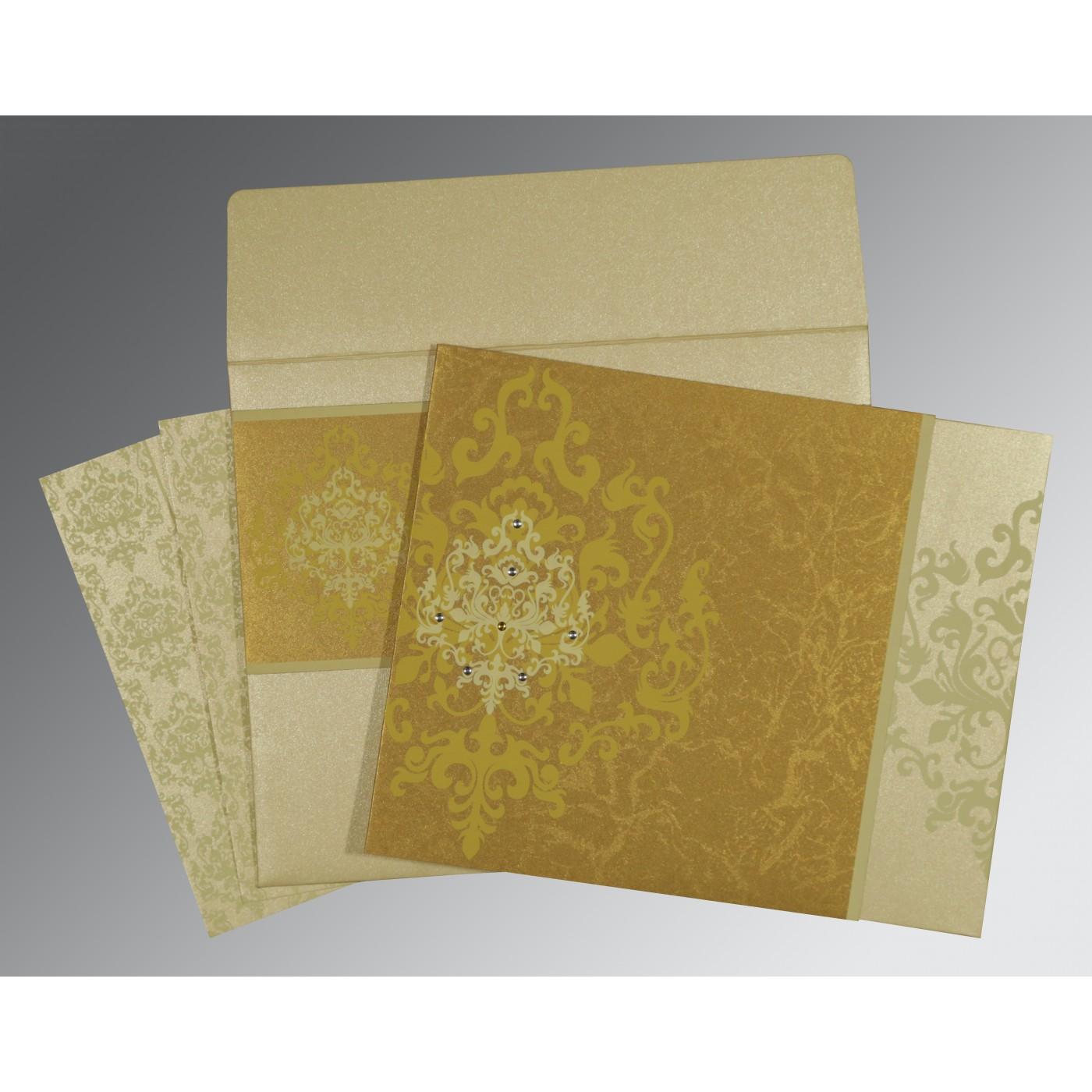 GOLD SHIMMERY DAMASK THEMED - SCREEN PRINTED WEDDING CARD : C-8253H - 123WeddingCards